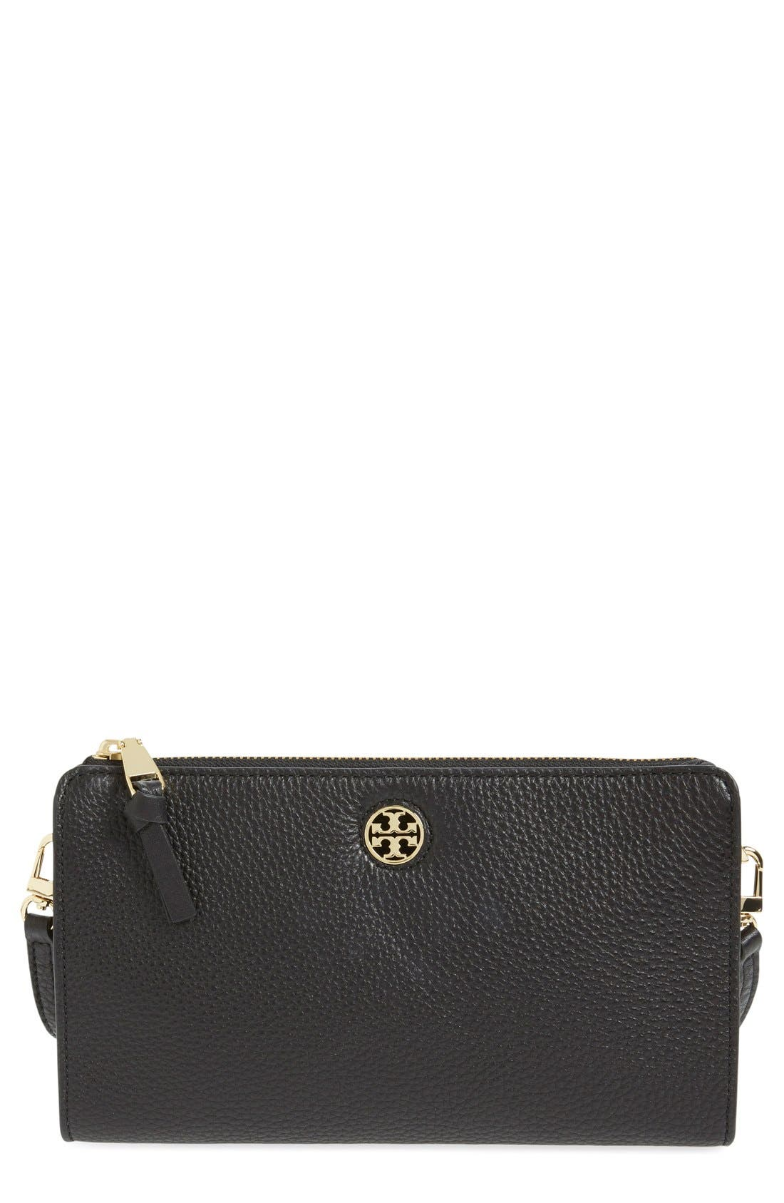 Main Image - Tory Burch 'Robinson' Pebbled Leather Crossbody Wallet