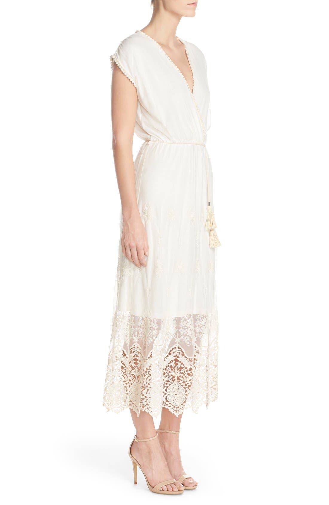 Alternate Image 2  - Fraiche by J Embroidered Mesh & Cotton Midi Dress