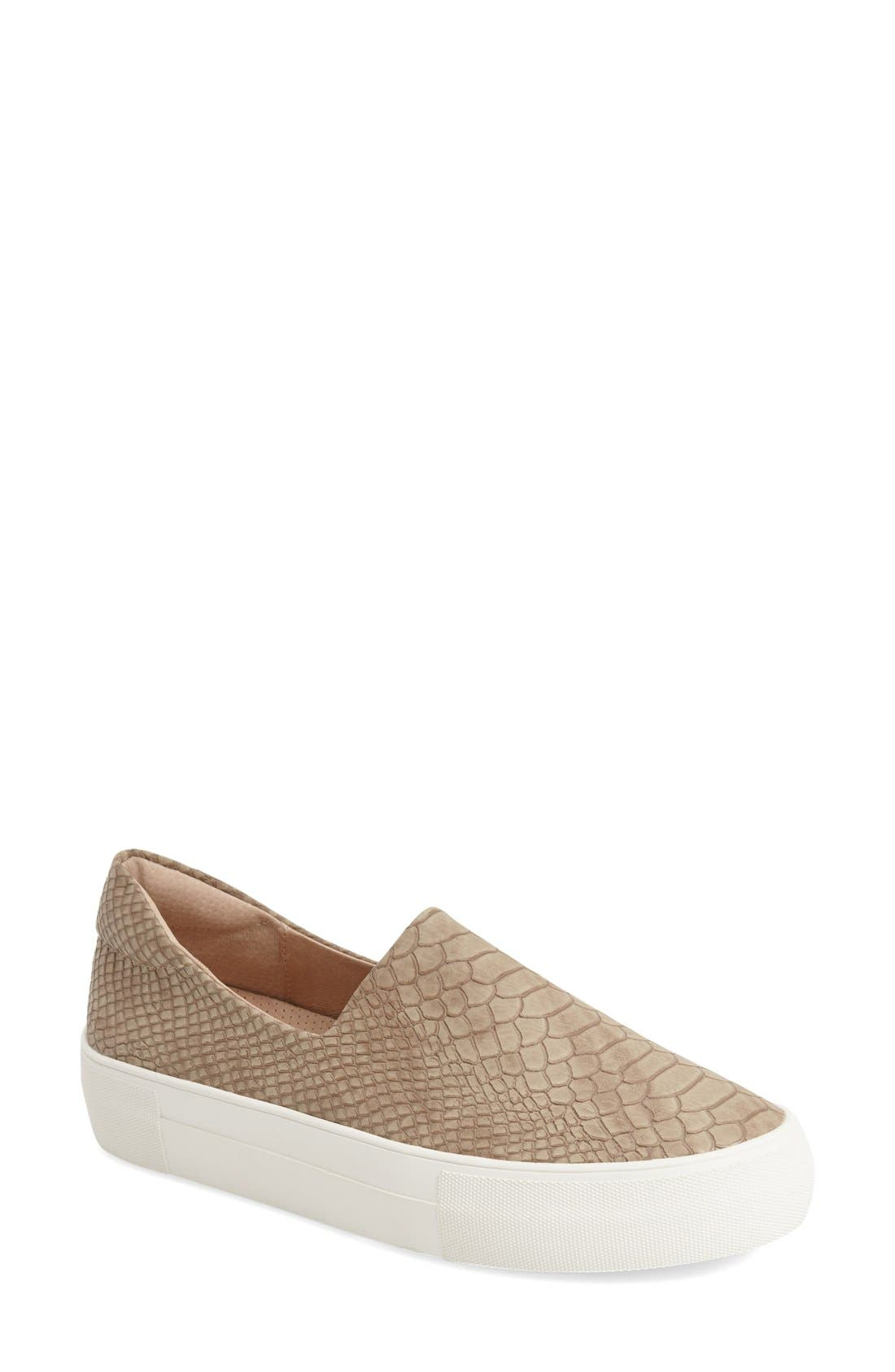 'Ariana' Platform Sneaker,                             Main thumbnail 1, color,                             Taupe Embossed Lux
