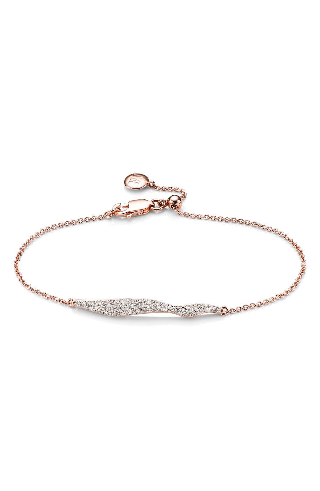 Monica Vinader 'Riva' Wave Diamond Charm Bracelet