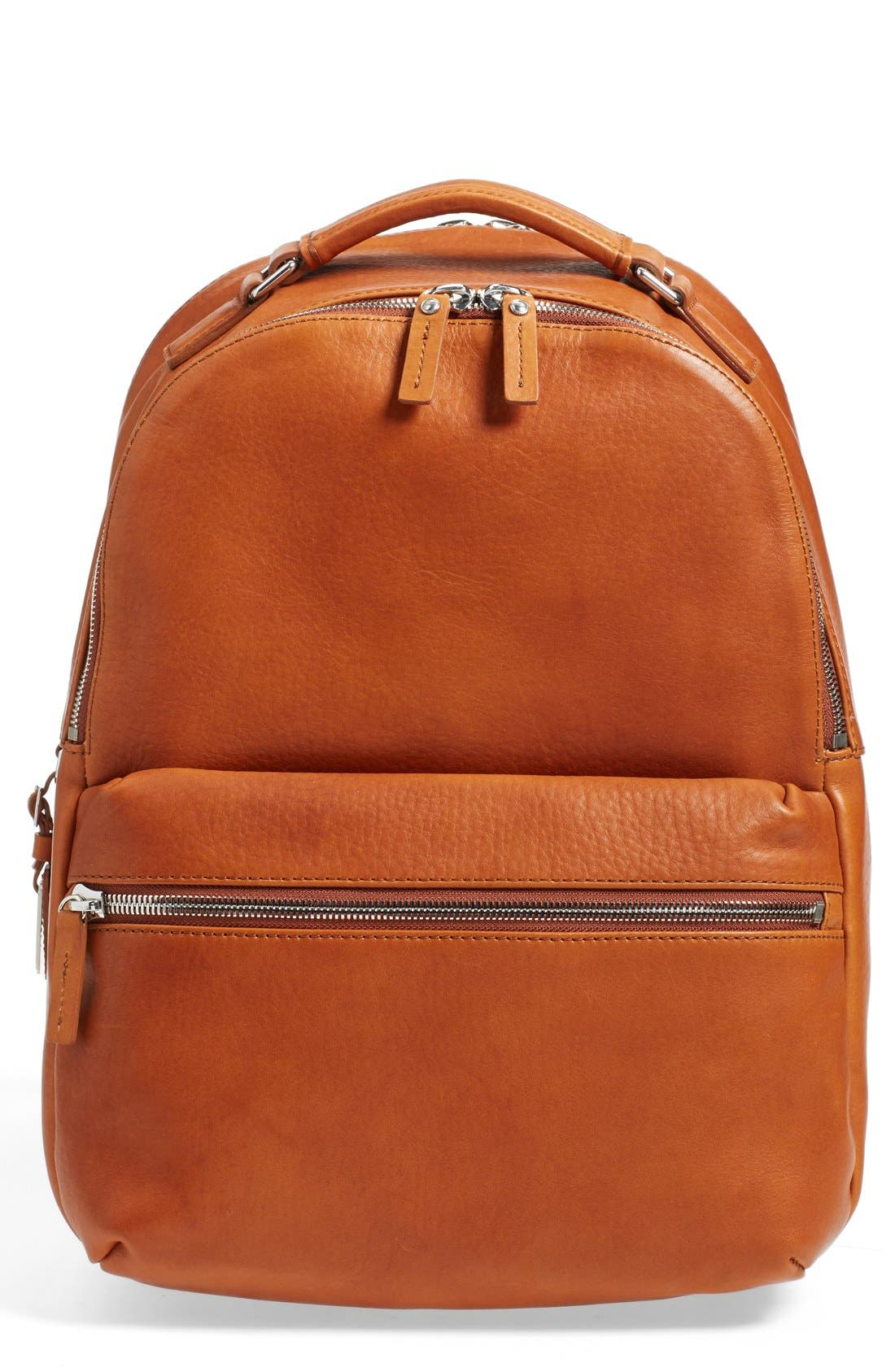 Runwell Leather Laptop Backpack,                             Main thumbnail 1, color,                             Bourbon