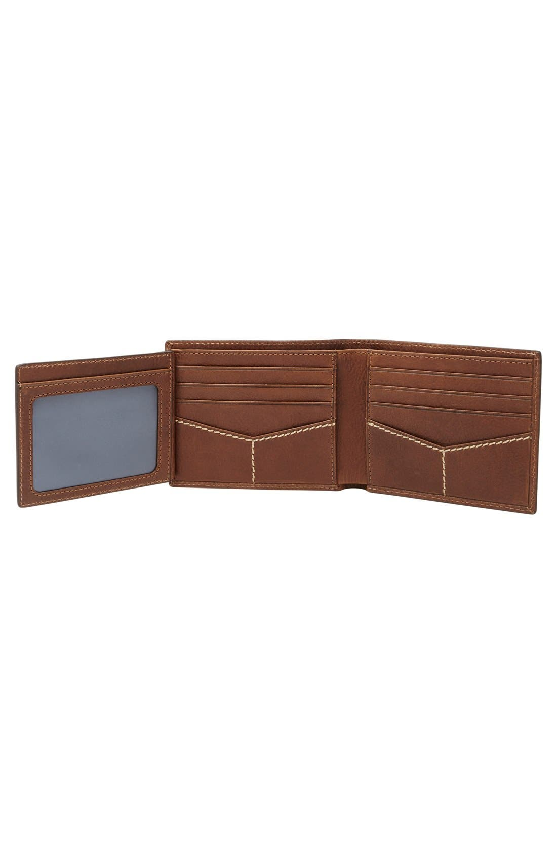 'Turk' Leather RFID Wallet,                             Alternate thumbnail 3, color,                             Brown
