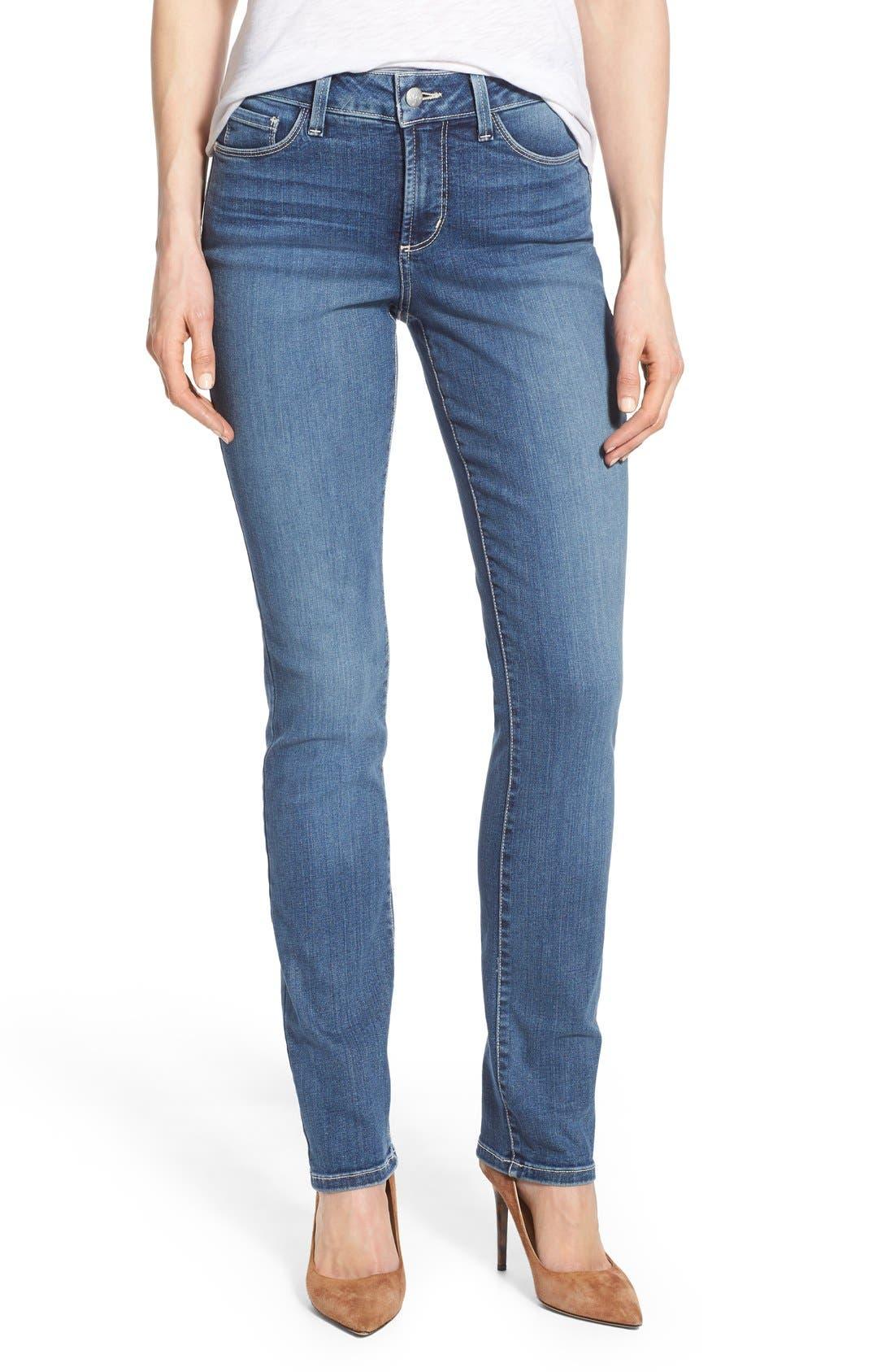 Alternate Image 1 Selected - NYDJ 'Samantha' Stretch Slim Straight Leg Jeans (Heyburn) (Regular & Petite)