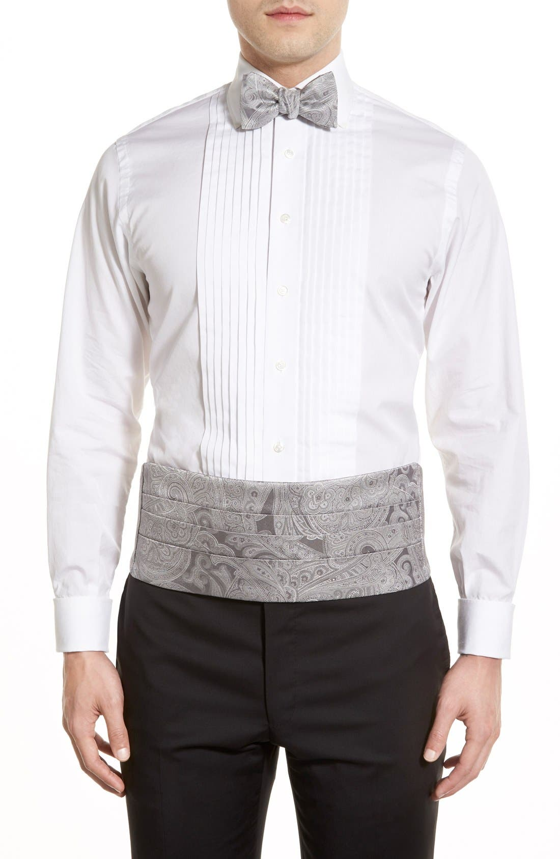 Paisley Cummerbund & Silk Bow Tie Set,                         Main,                         color, Silver