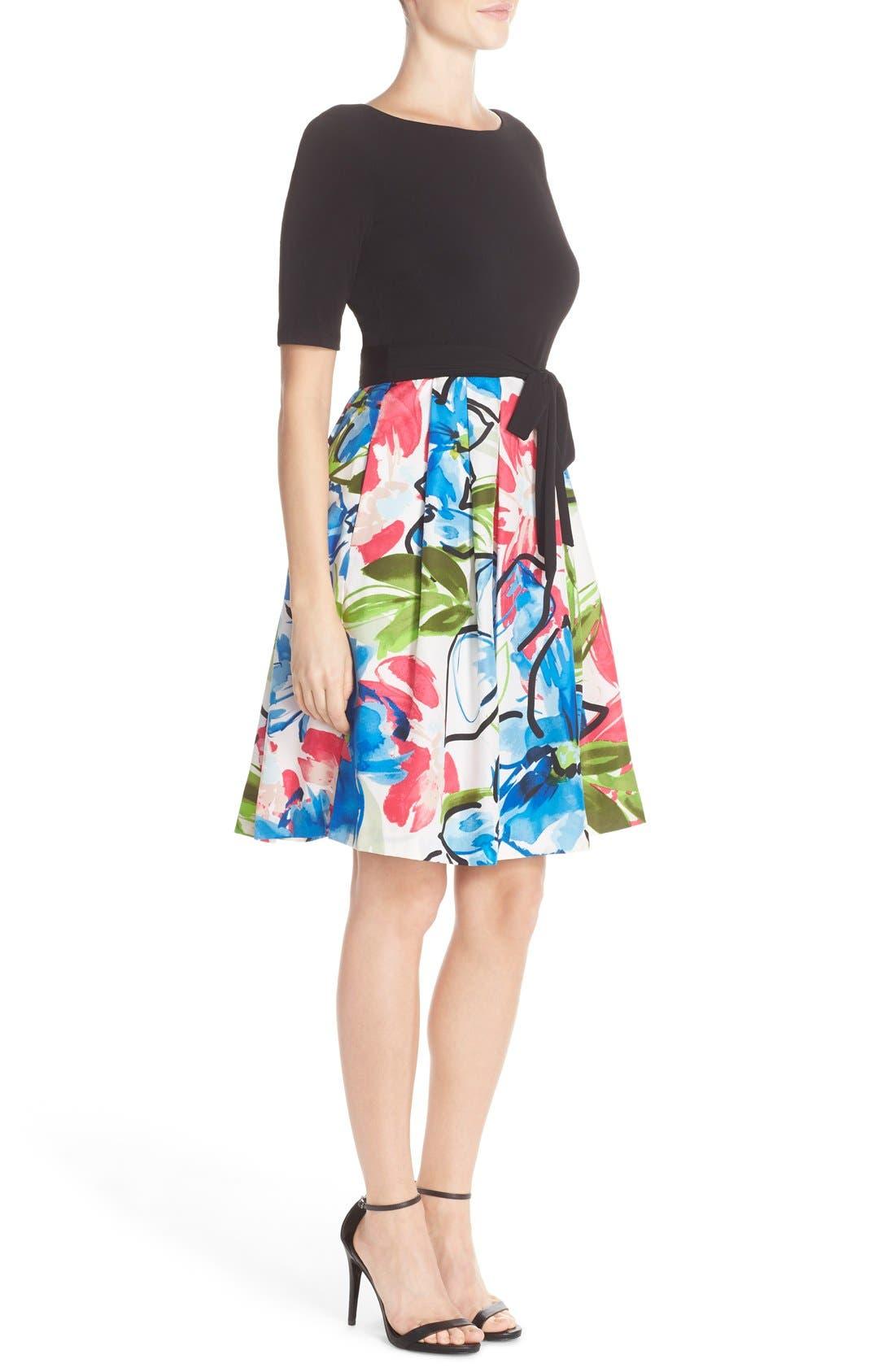 Alternate Image 3  - Ellen Tracy Mixed Media Fit & Flare Dress