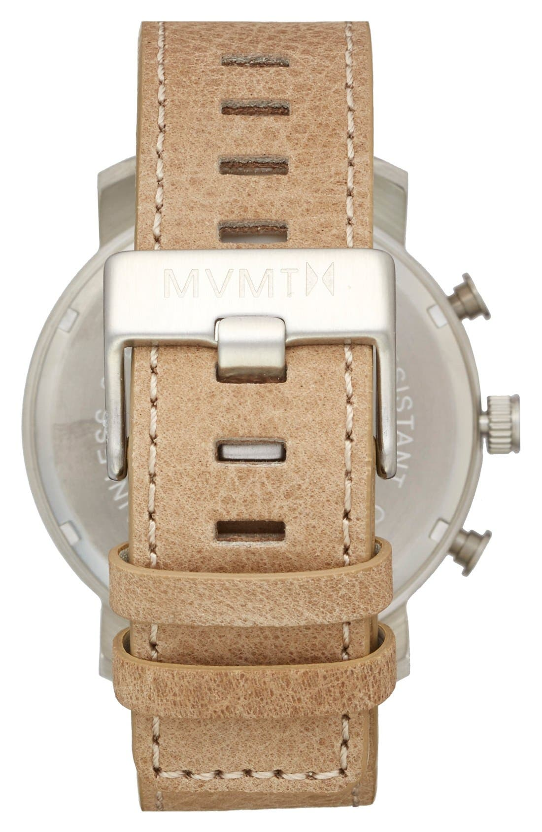 Alternate Image 2  - MVMT Chronograph Leather Strap Watch, 45mm