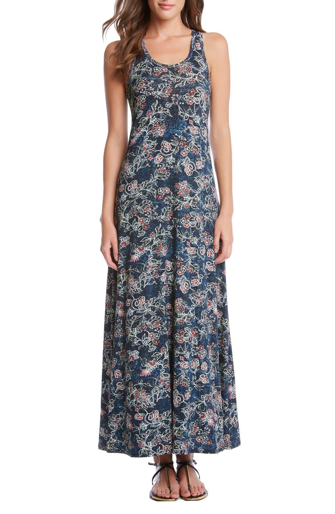 Alternate Image 1 Selected - Karen Kane 'Tasha' Batik Floral Print Jersey Maxi Dress