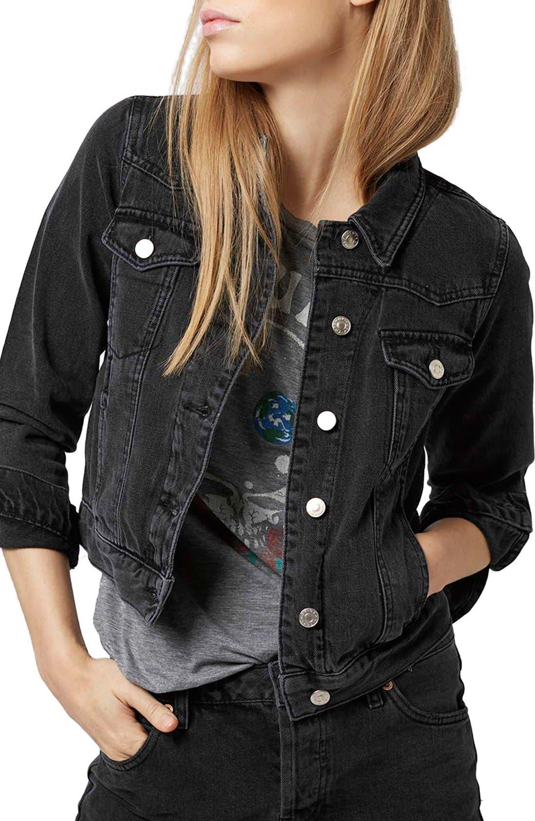 Main Image - Topshop Moto 'Tilda' Washed Denim Jacket (Black)