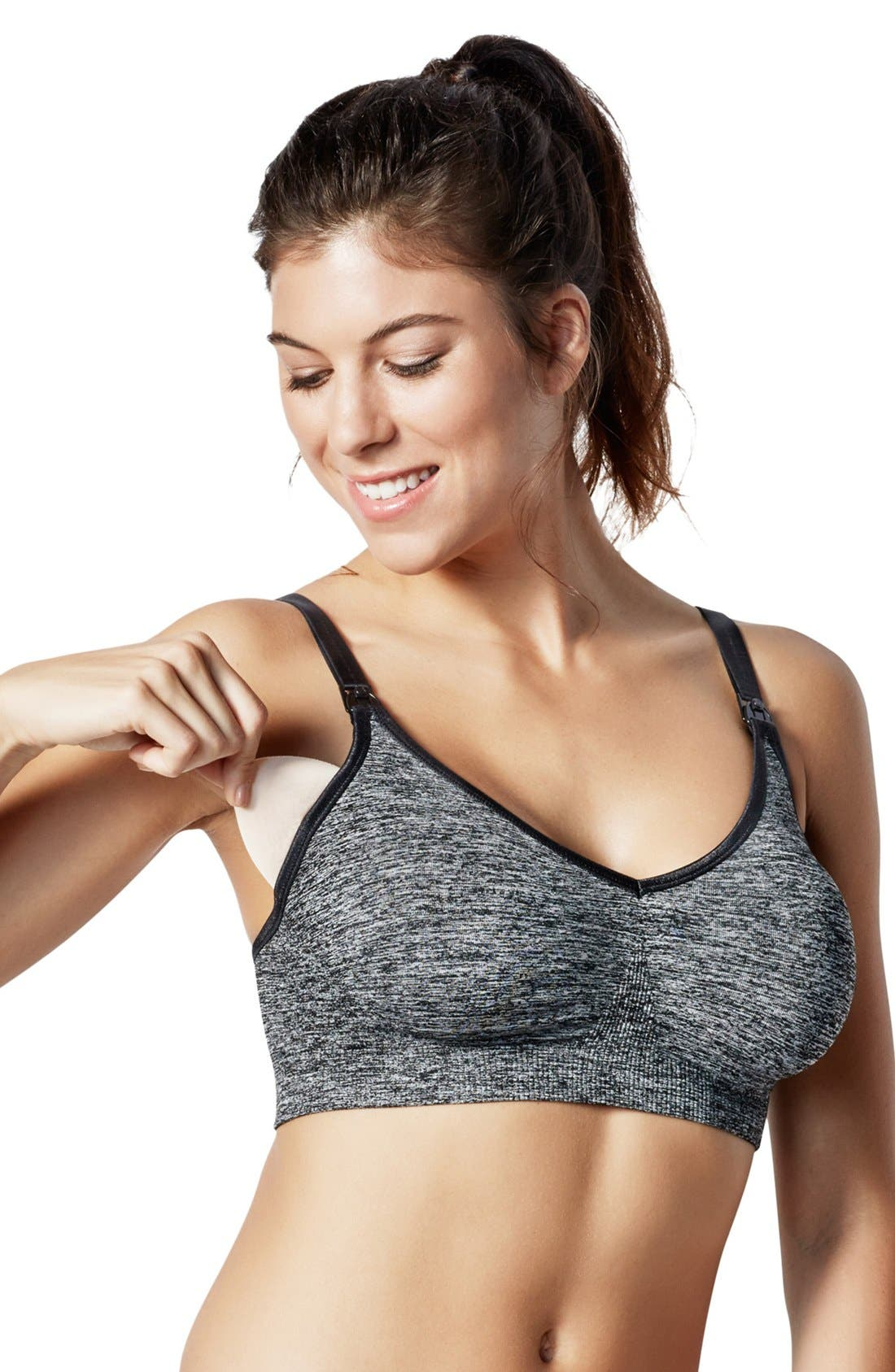 'Body Silk' Seamless Yoga Maternity/Nursing Bra,                             Alternate thumbnail 5, color,                             Charcoal Heather