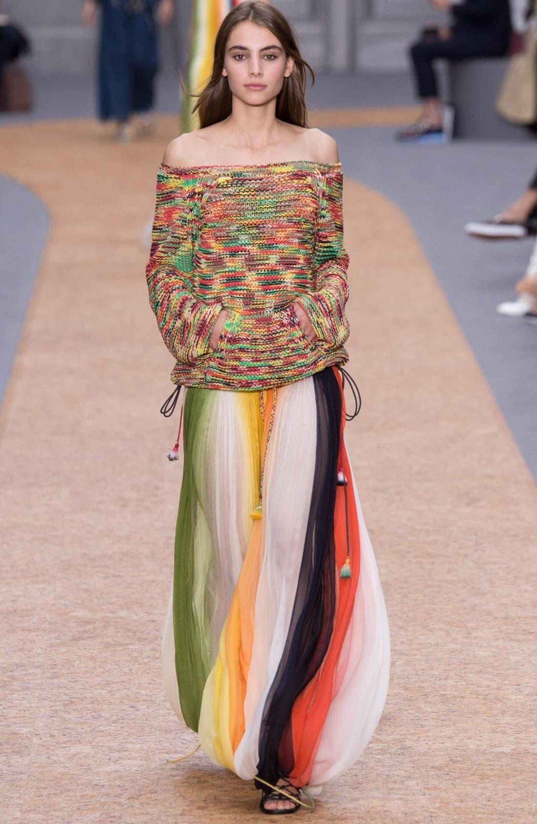Stripe Pleated Silk Skirt with Tassels,                             Alternate thumbnail 2, color,                             Orange/ Green