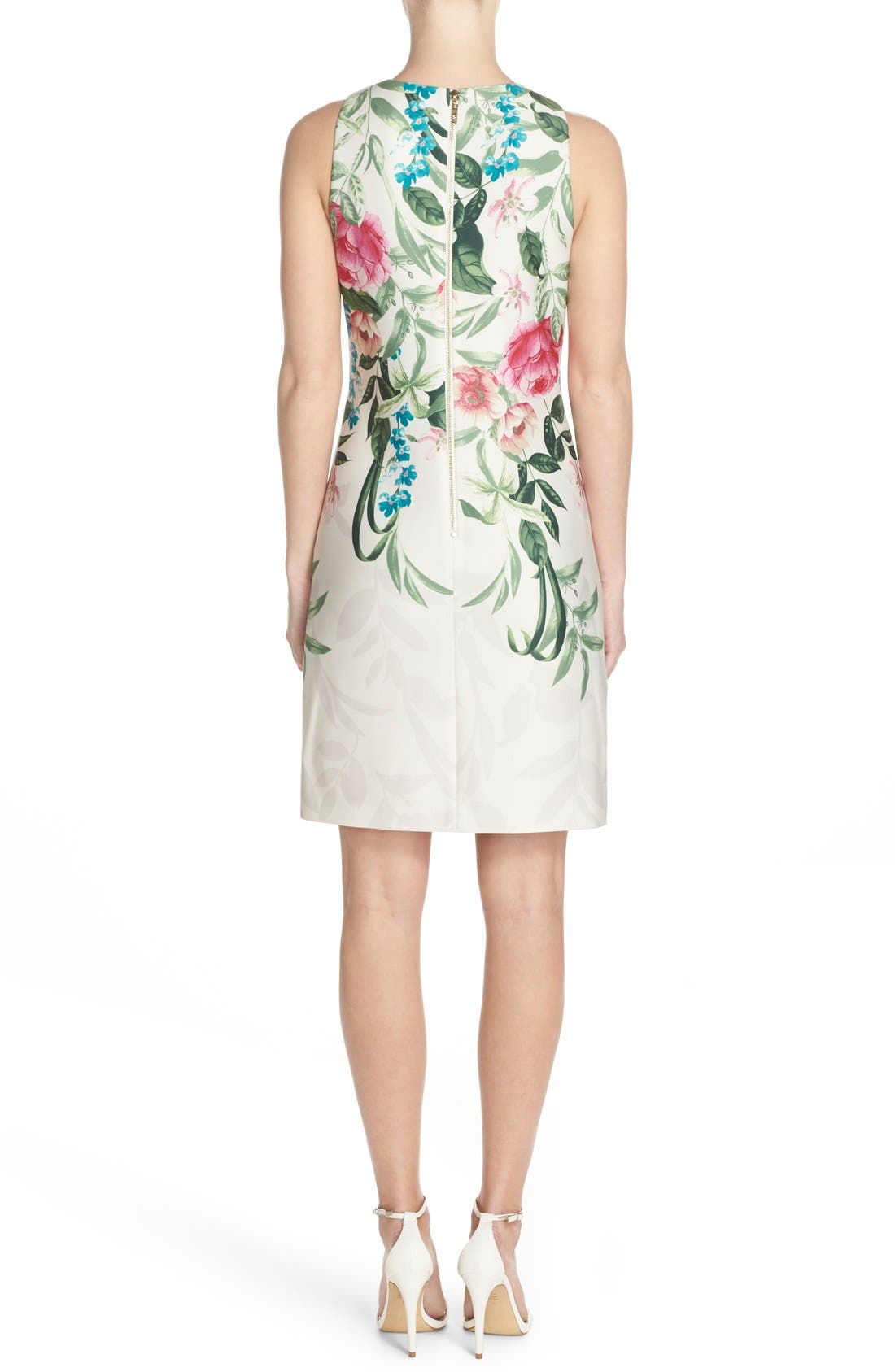 Alternate Image 2  - Eliza J Placed Floral Print Stretch A-Line Dress (Regular & Petite)