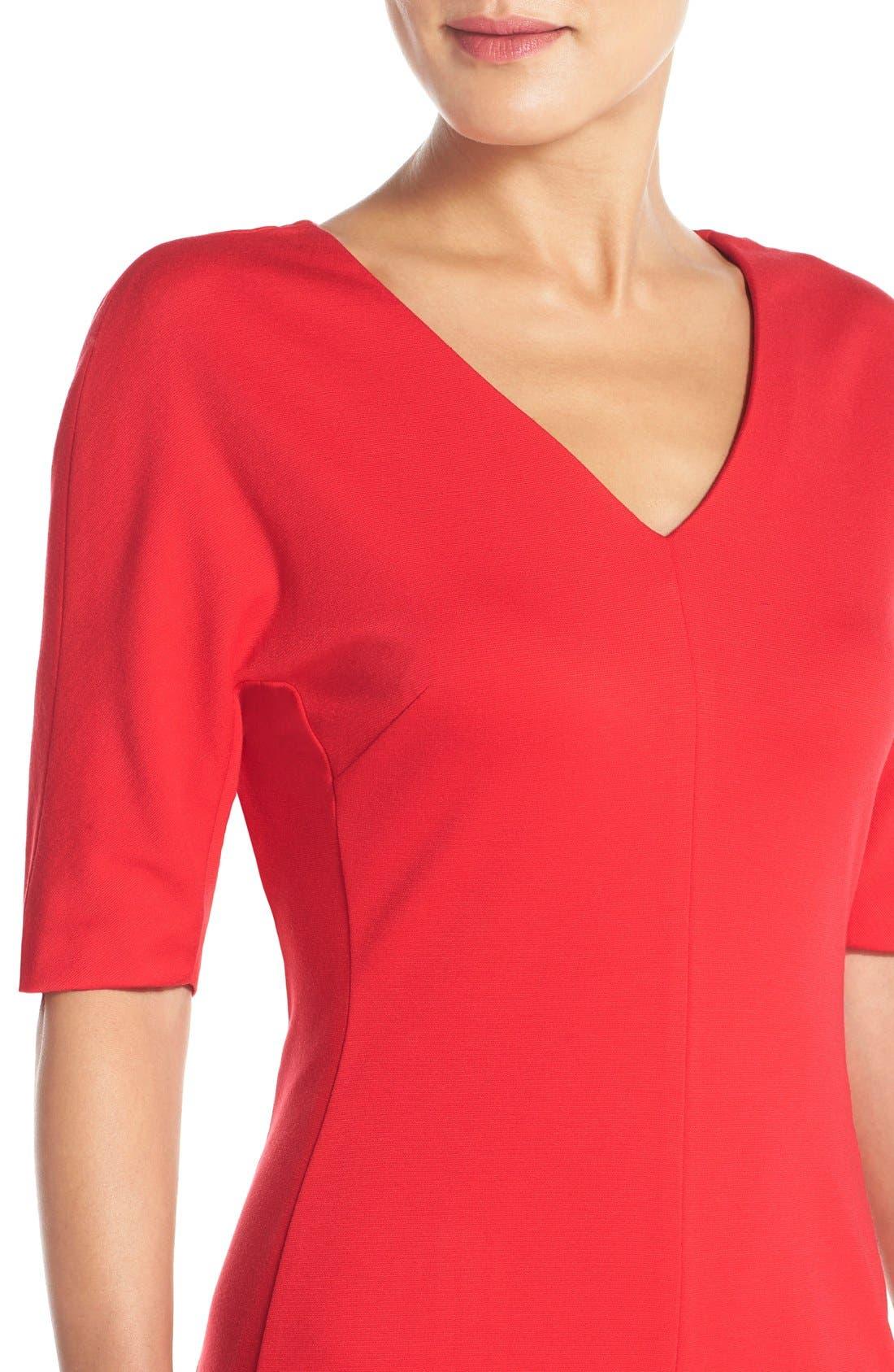 V-Neck Crepe Sheath Dress,                             Alternate thumbnail 4, color,                             Salsa