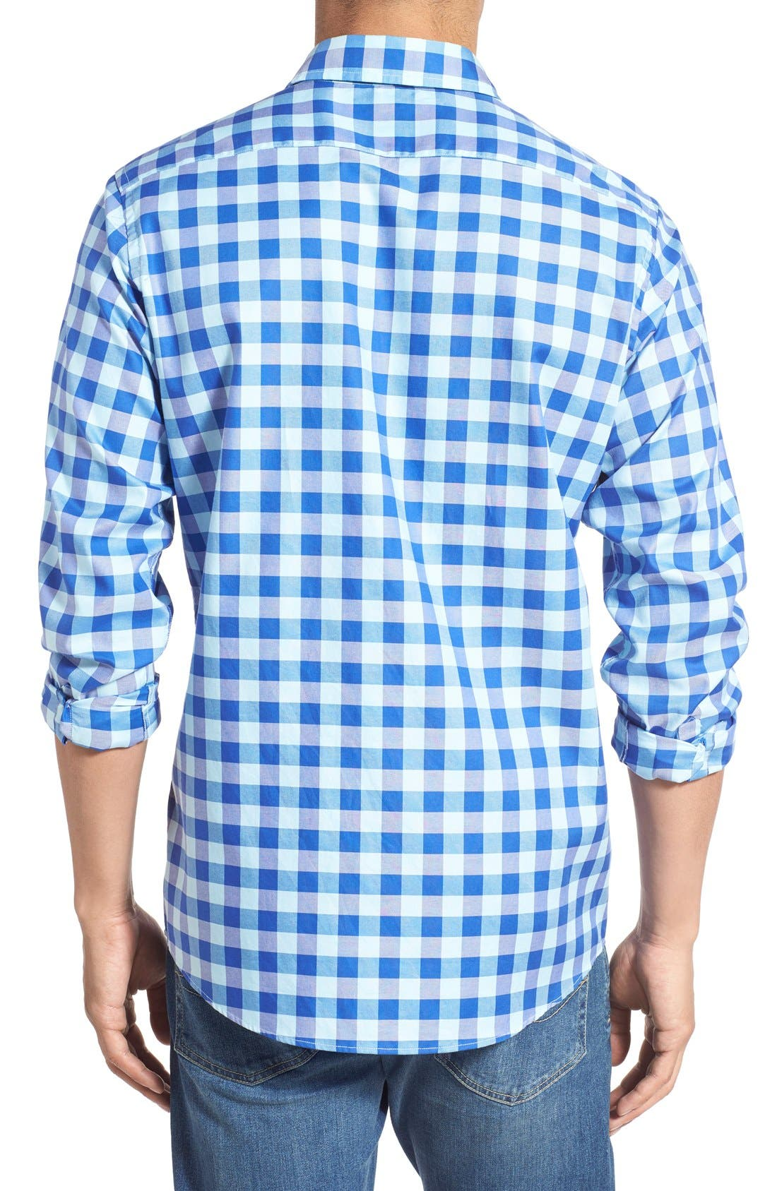 'Branston' Sports Fit Check Sport Shirt,                             Alternate thumbnail 2, color,                             Sky