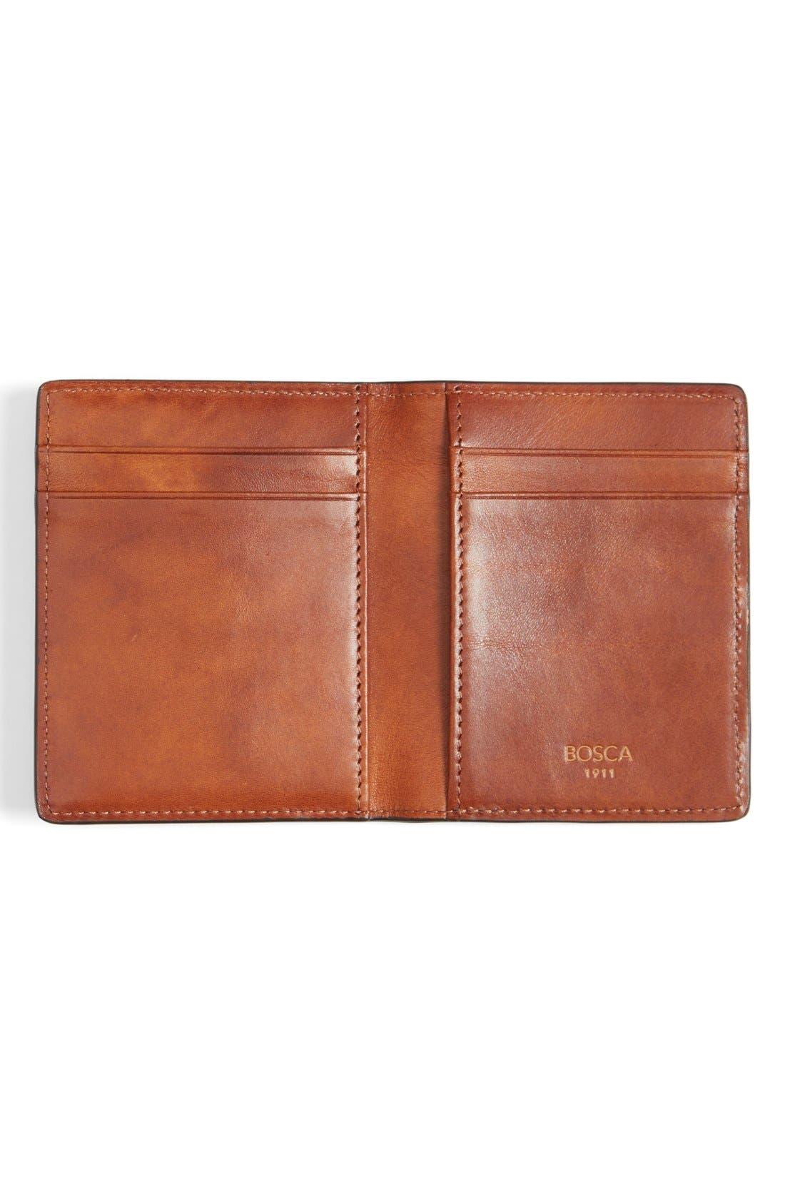 Leather Front Pocket Money Clip Wallet,                             Alternate thumbnail 2, color,                             Amber
