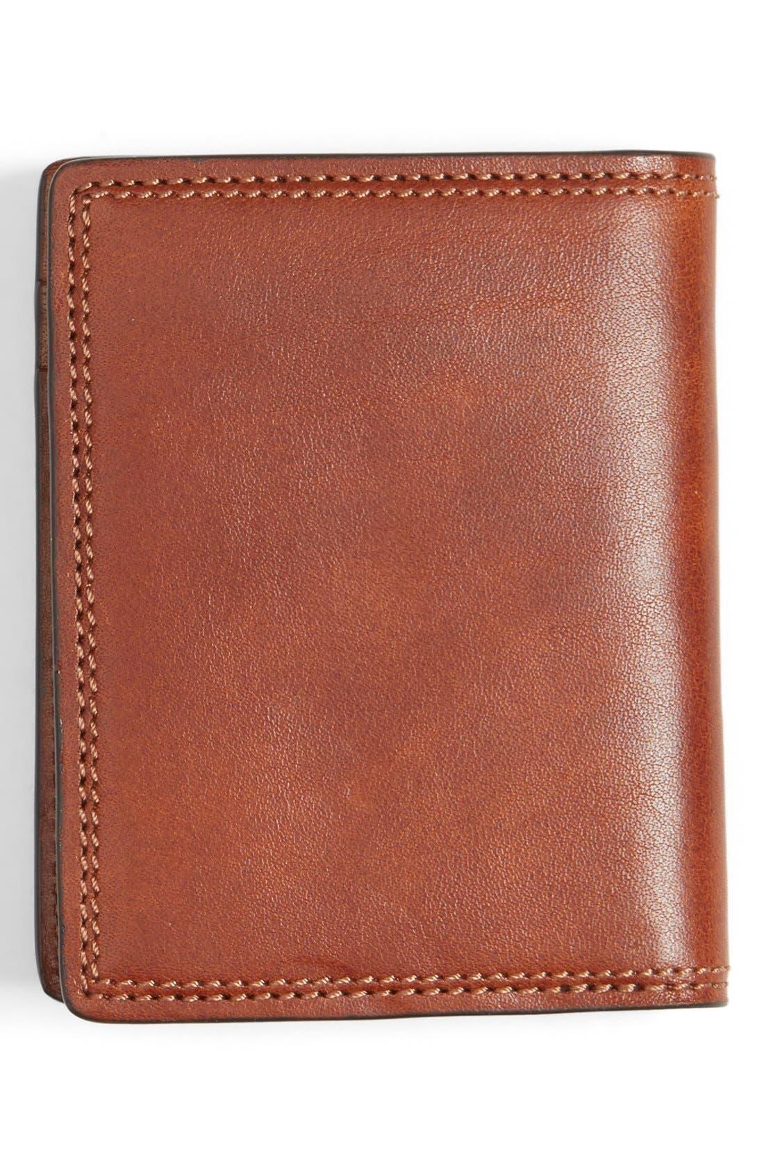 Leather Front Pocket Money Clip Wallet,                             Alternate thumbnail 3, color,                             Amber