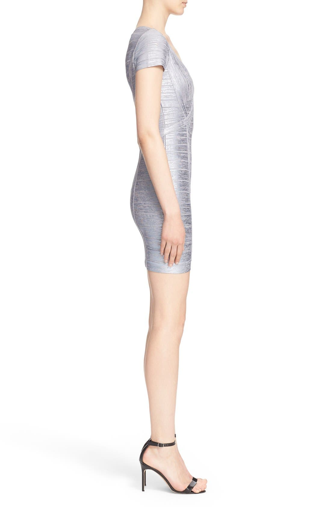 Alternate Image 5  - Herve Leger 'Klaudia' Woodgrain Metallic Foil Dress