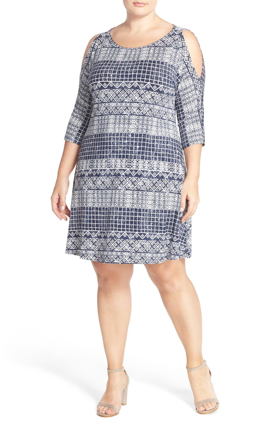 'Naya' Cold Shoulder A-Line Dress,                         Main,                         color, Wax Print Geo