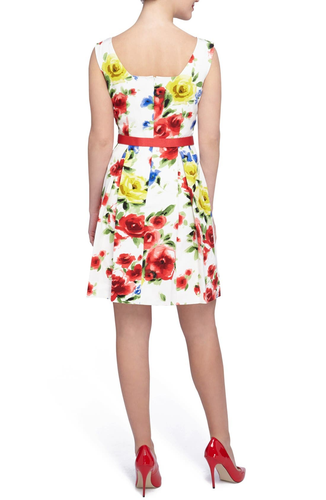 Alternate Image 2  - Tahari Floral Faille Fit & Flare Dress (Regular & Petite)