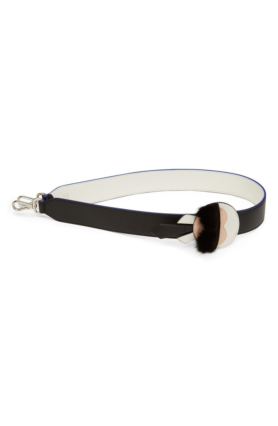 Main Image - Fendi 'Strap You - Karlito' Leather & Genuine Mink Fur Bag Strap