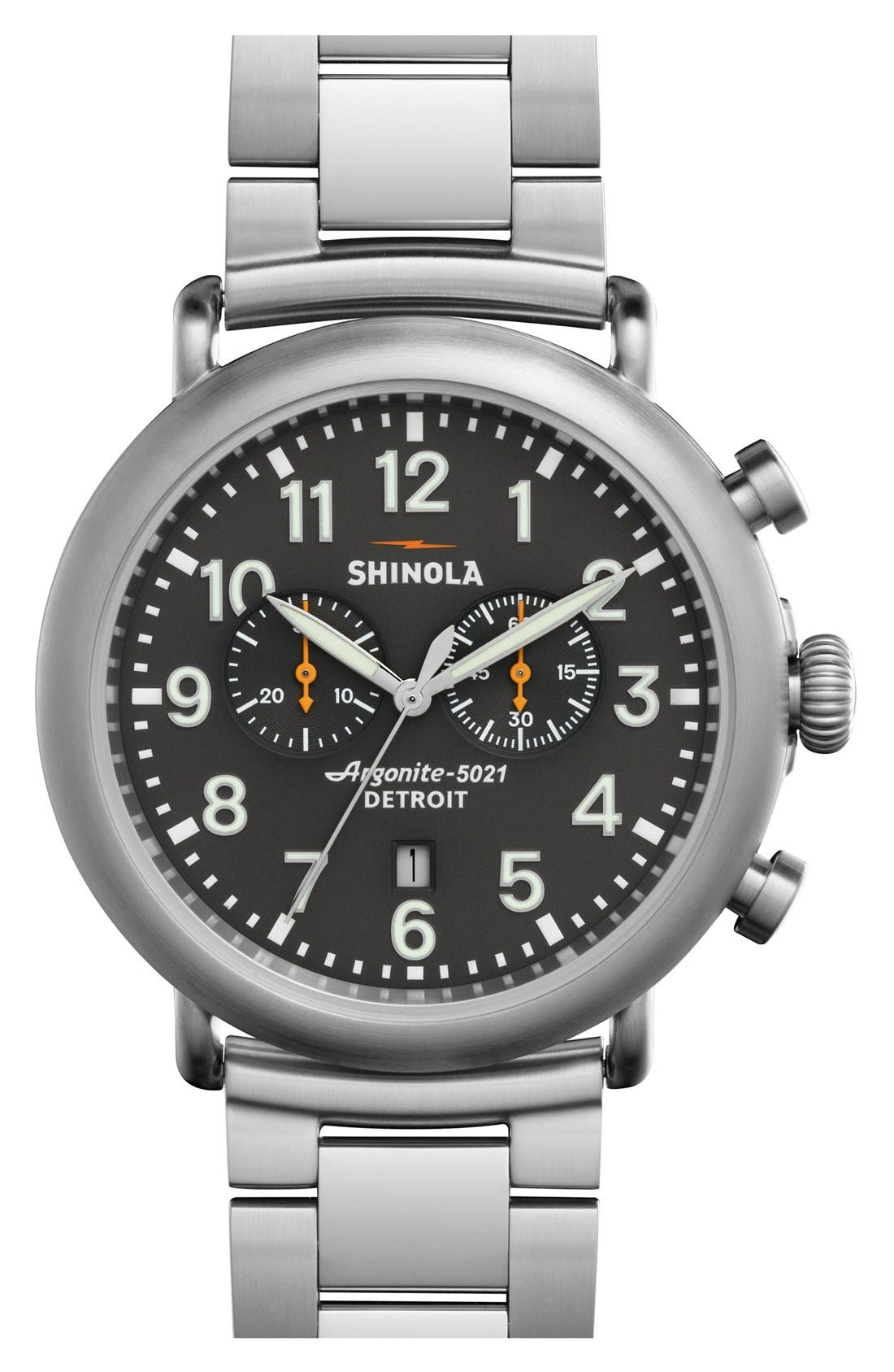 'The Runwell Chrono' Bracelet Watch, 47mm,                             Main thumbnail 1, color,                             Silver/ Cool Grey