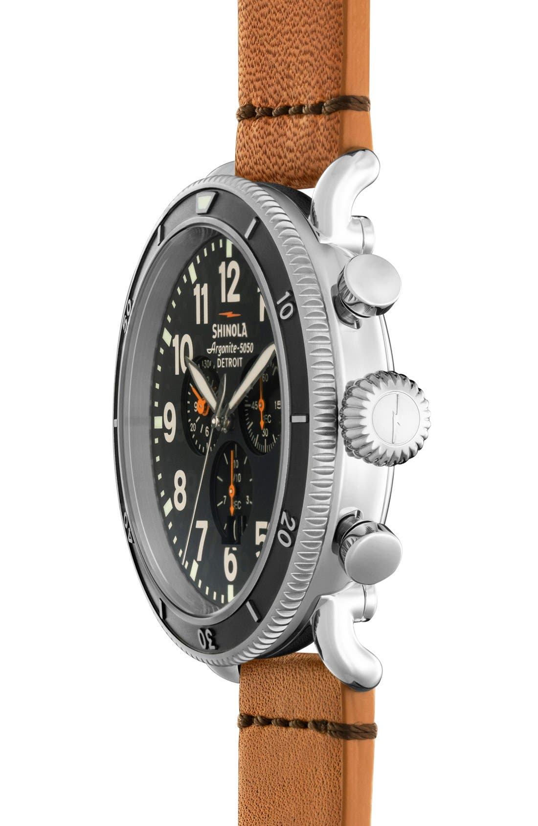 'The Runwell' Chronograph Leather Strap Watch, 48mm,                             Alternate thumbnail 3, color,                             Tan/ Black