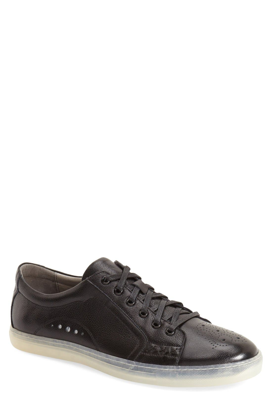 'Drum' Lace-Up Sneaker,                             Main thumbnail 1, color,                             Black Leather
