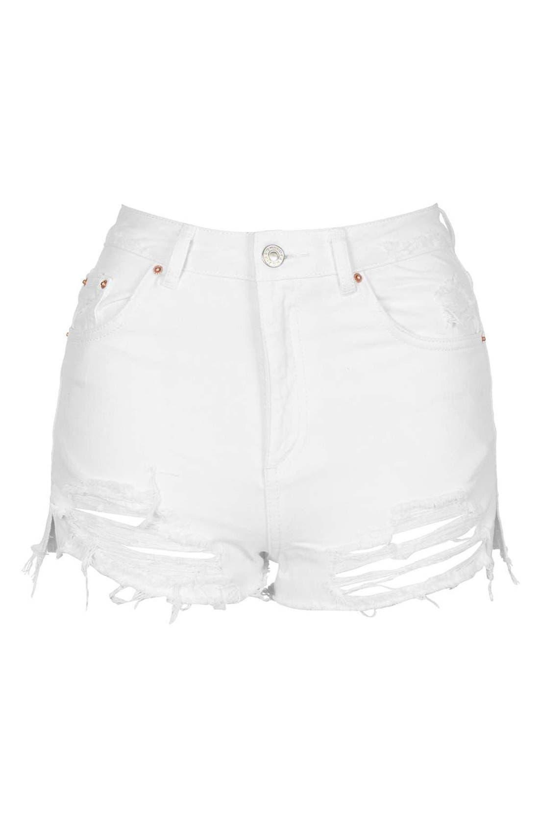 Alternate Image 4  - Topshop High Rise Ripped Denim Shorts