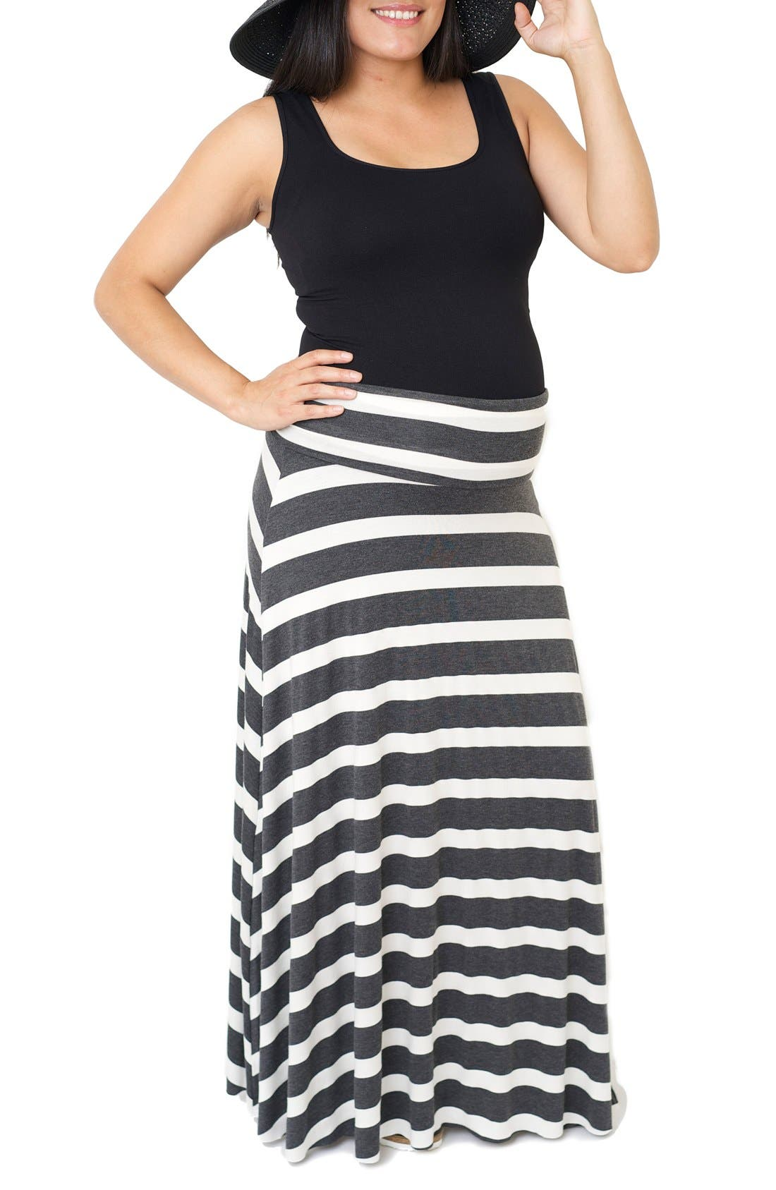 'Rachael' Convertible Stripe Maxi Maternity Skirt,                             Main thumbnail 1, color,                             Charcoal Wide Stripe