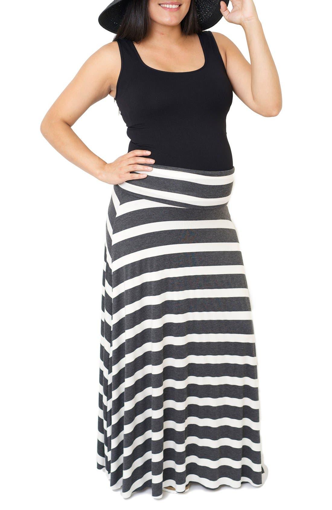 Main Image - Nom Maternity 'Rachael' Convertible Stripe Maxi Maternity Skirt