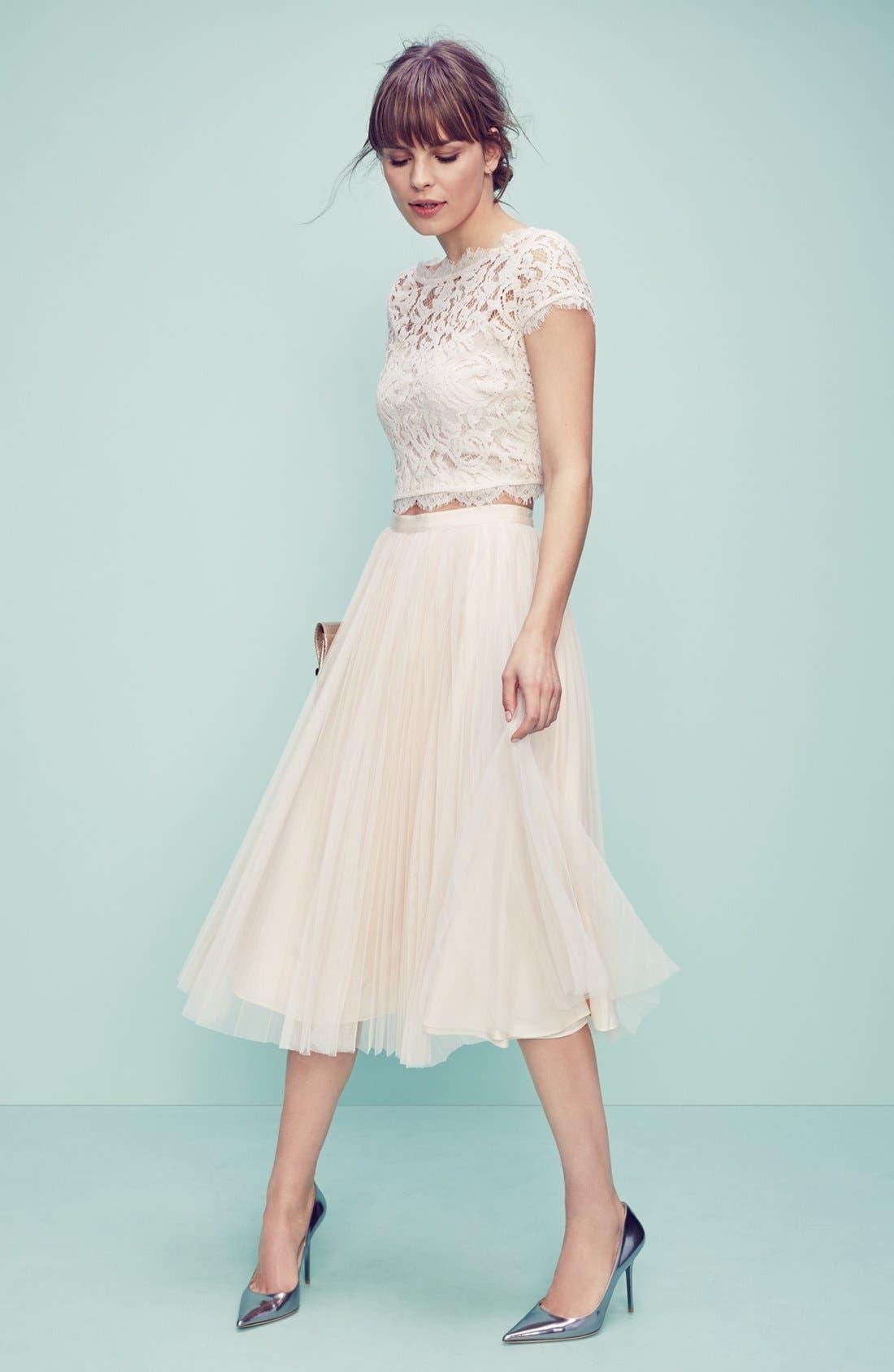 Alternate Image 6  - Adrianna Papell Pleated Tulle Midi Skirt