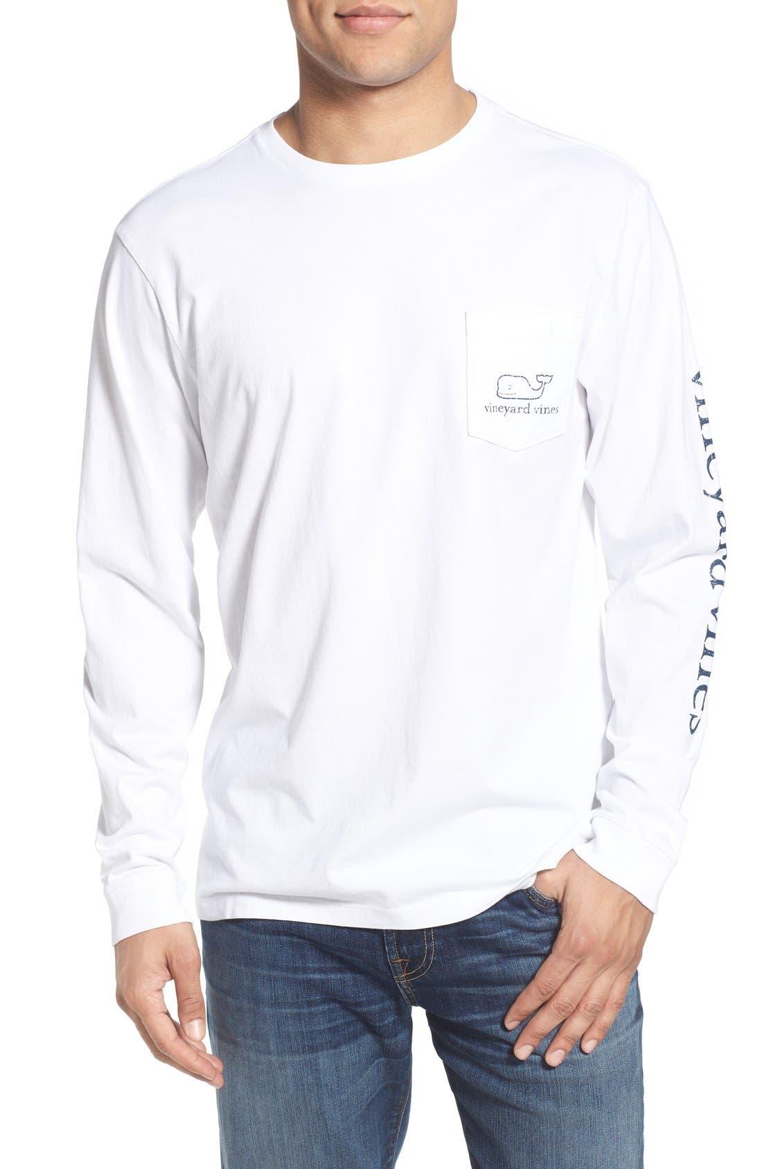 Pocket Long Sleeve T-Shirt,                             Alternate thumbnail 2, color,                             White Cap