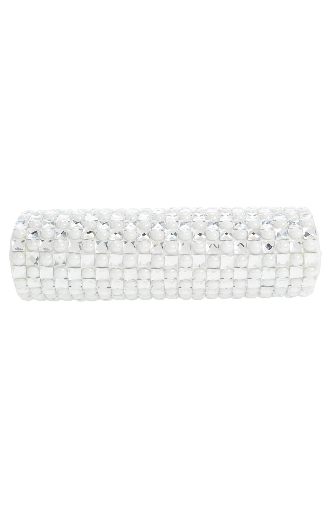 Crystal Clutch,                             Alternate thumbnail 6, color,                             Silver/White