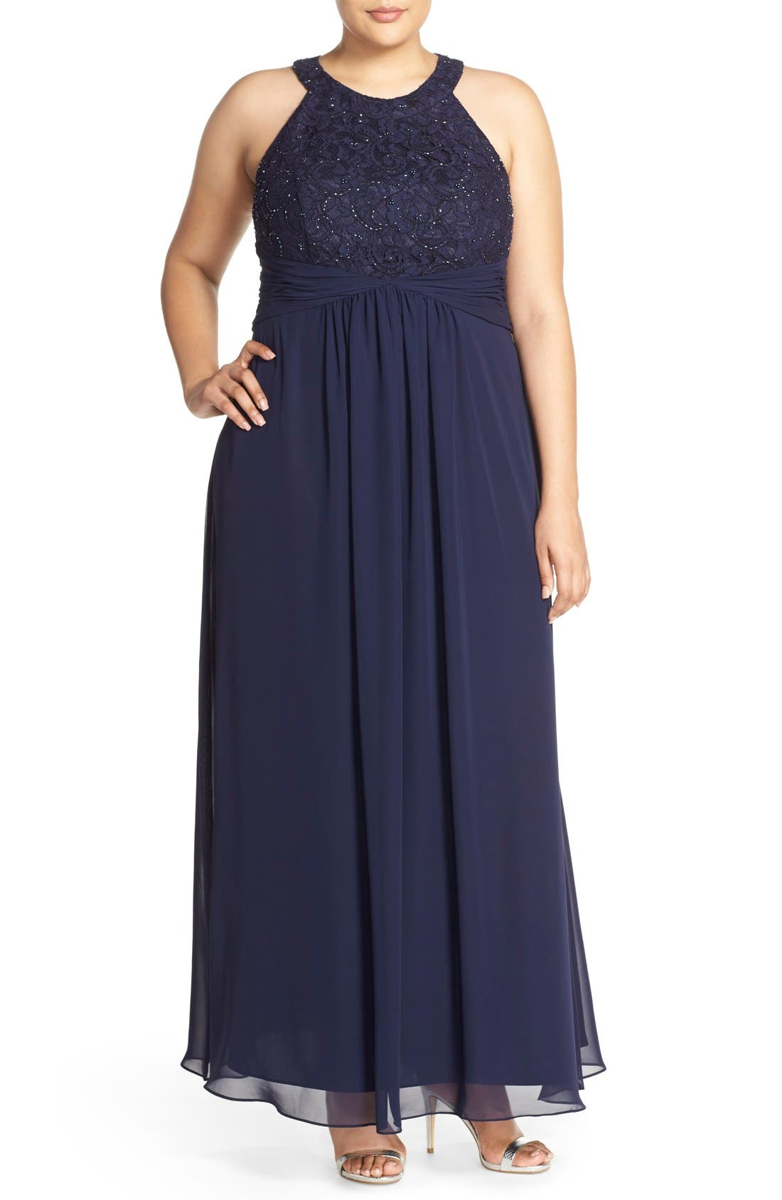 Halter Style Lace & Chiffon Gown,                             Main thumbnail 1, color,                             Navy