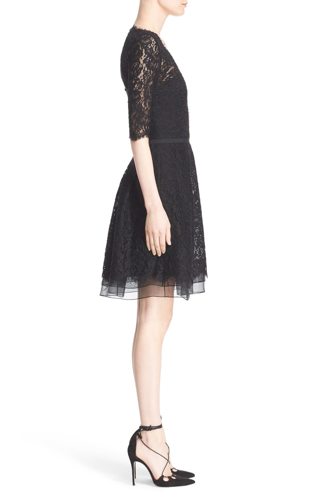 Lace A-Line Cocktail Dress,                             Alternate thumbnail 4, color,                             Black