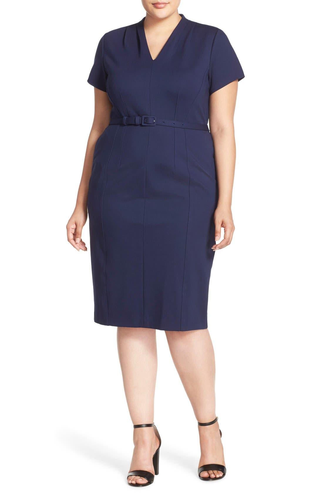 Belted Ponte V-Neck Sheath Dress,                             Main thumbnail 1, color,                             Navy Peacoat