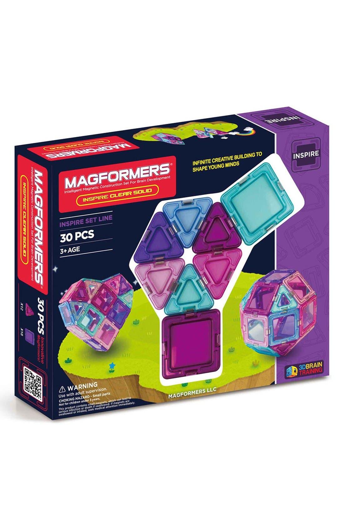 'Inspire - Solids' Clear Magnetic 3D Construction Set,                         Main,                         color, Teal/ Blue/ Pink/ Purple