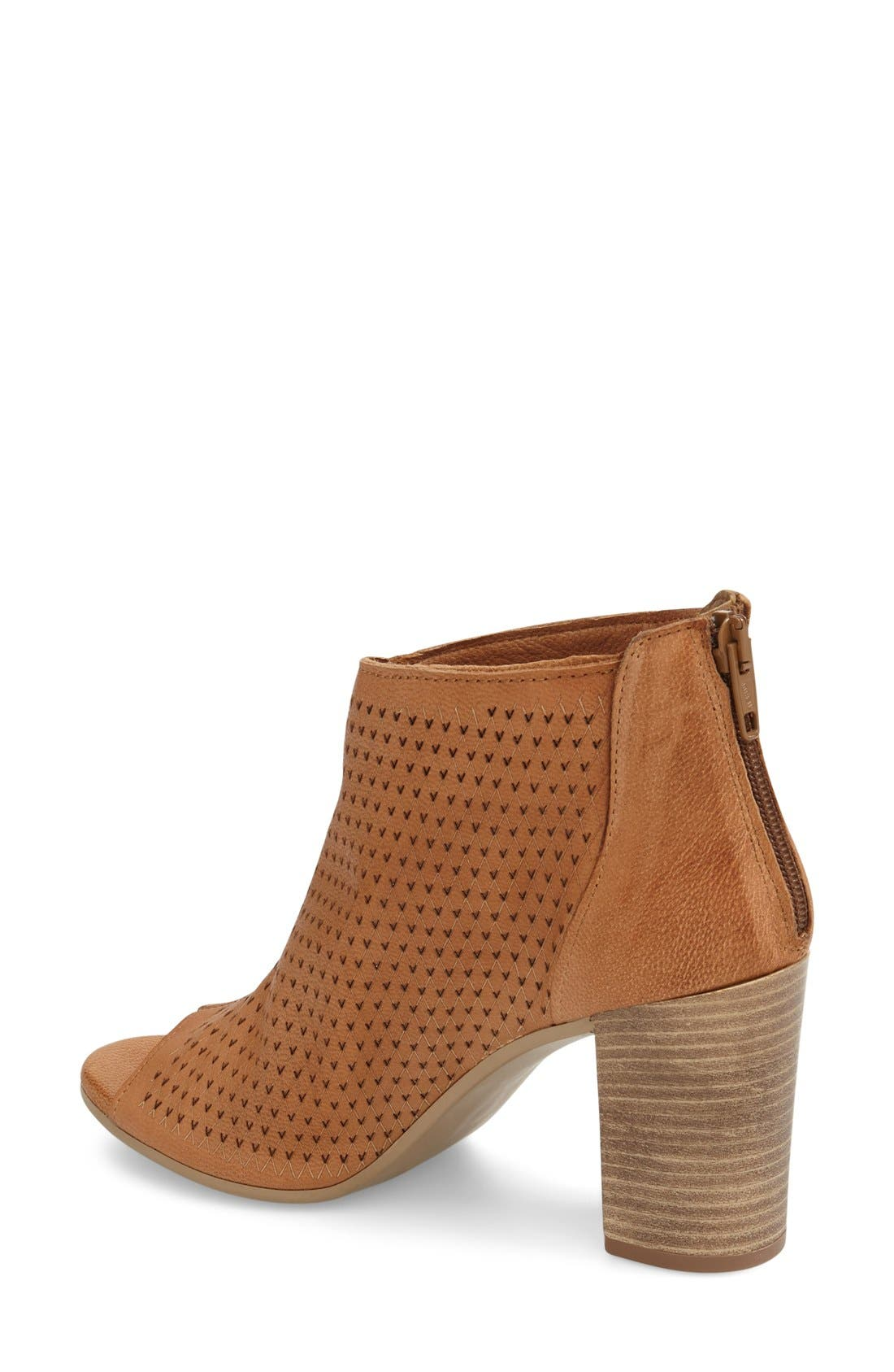 'Nina' Open Toe Bootie,                             Alternate thumbnail 2, color,                             Luggage Leather