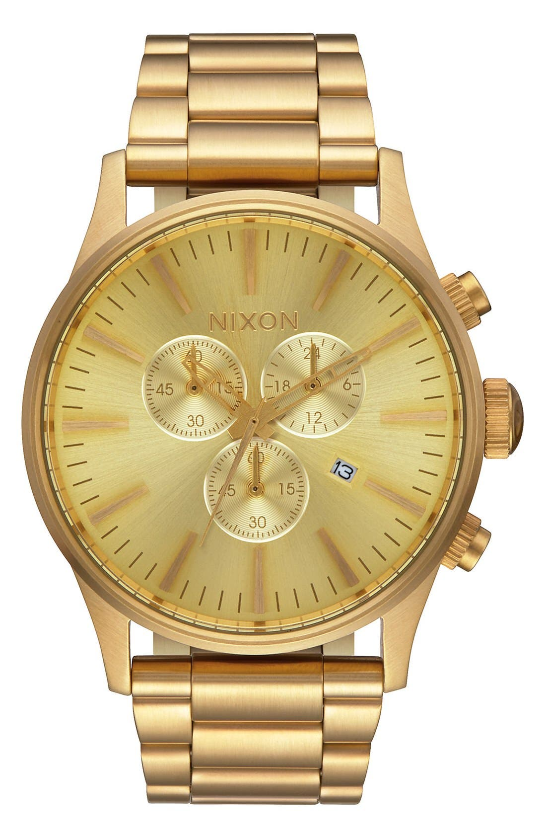 'The Sentry' Chronograph Bracelet Watch, 42mm,                         Main,                         color, Gold