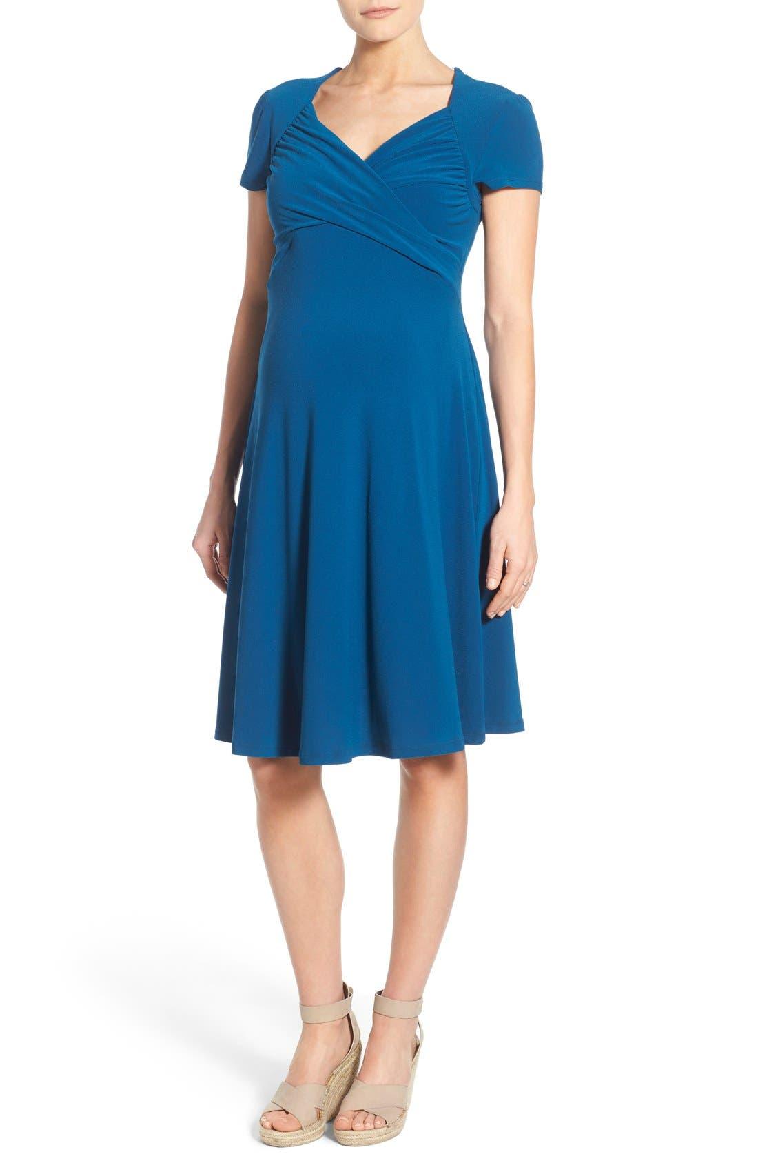 'Sweetheart' Maternity Dress,                         Main,                         color, Marine Crepe
