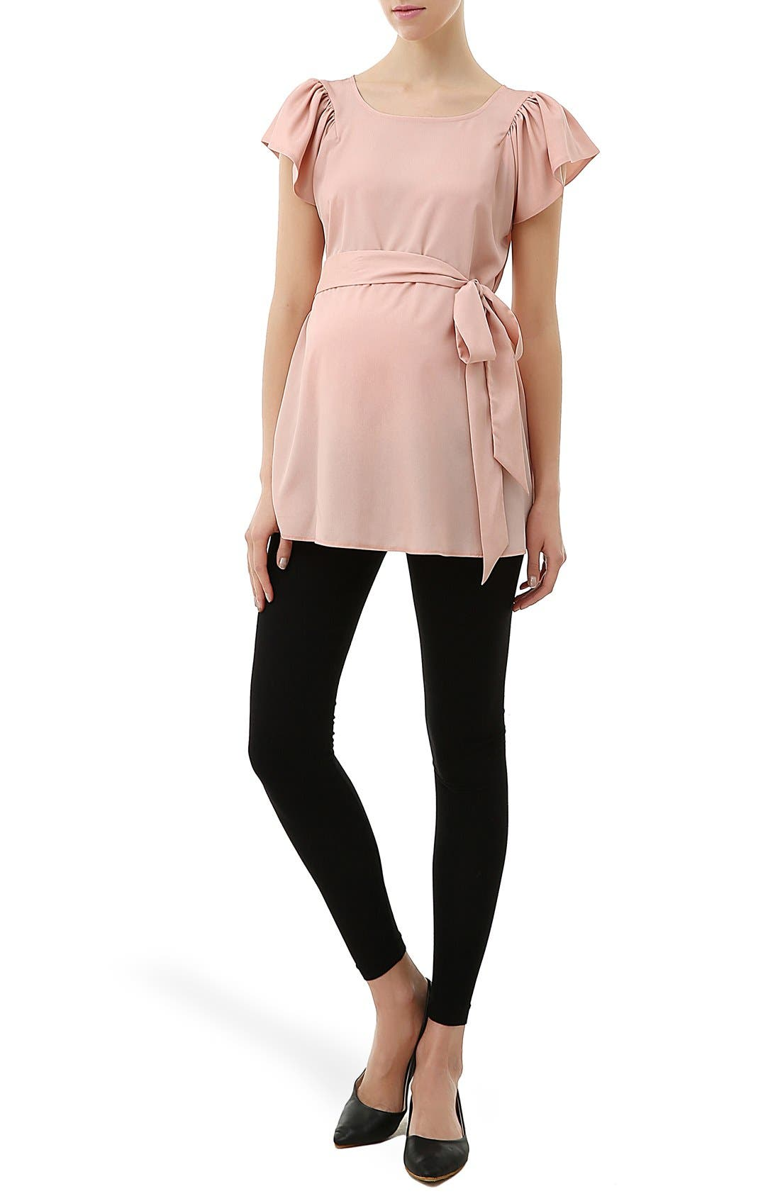 'Quinn' Flutter Sleeve Belted Maternity Top,                             Main thumbnail 1, color,                             Blush