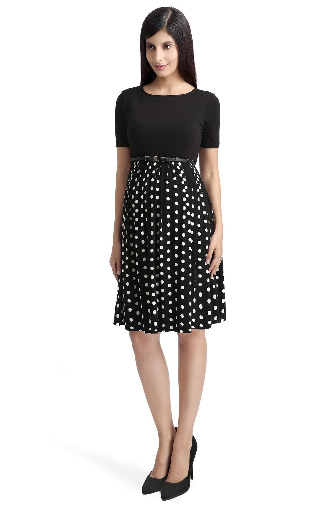 'Emmy' Polka Dot Maternity Dress,                             Alternate thumbnail 4, color,                             Black