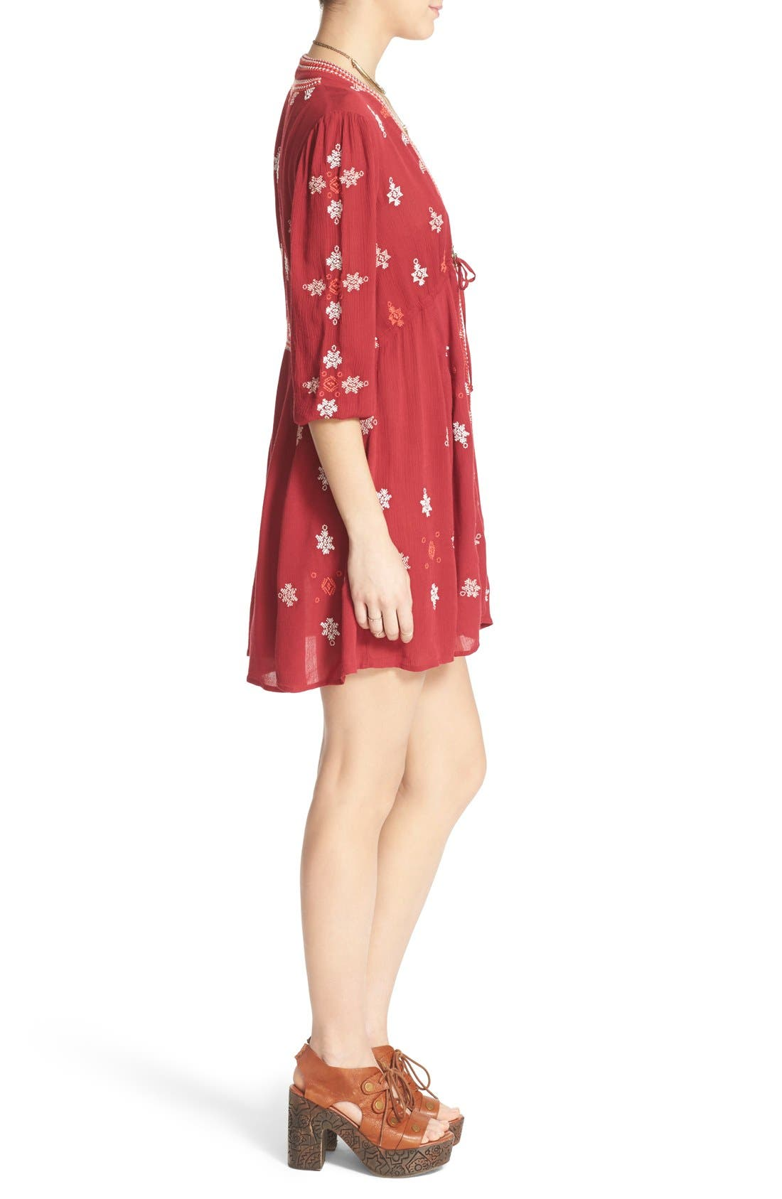 'Star Gazer' Embroidered Tunic Dress,                             Alternate thumbnail 4, color,                             Red Combo