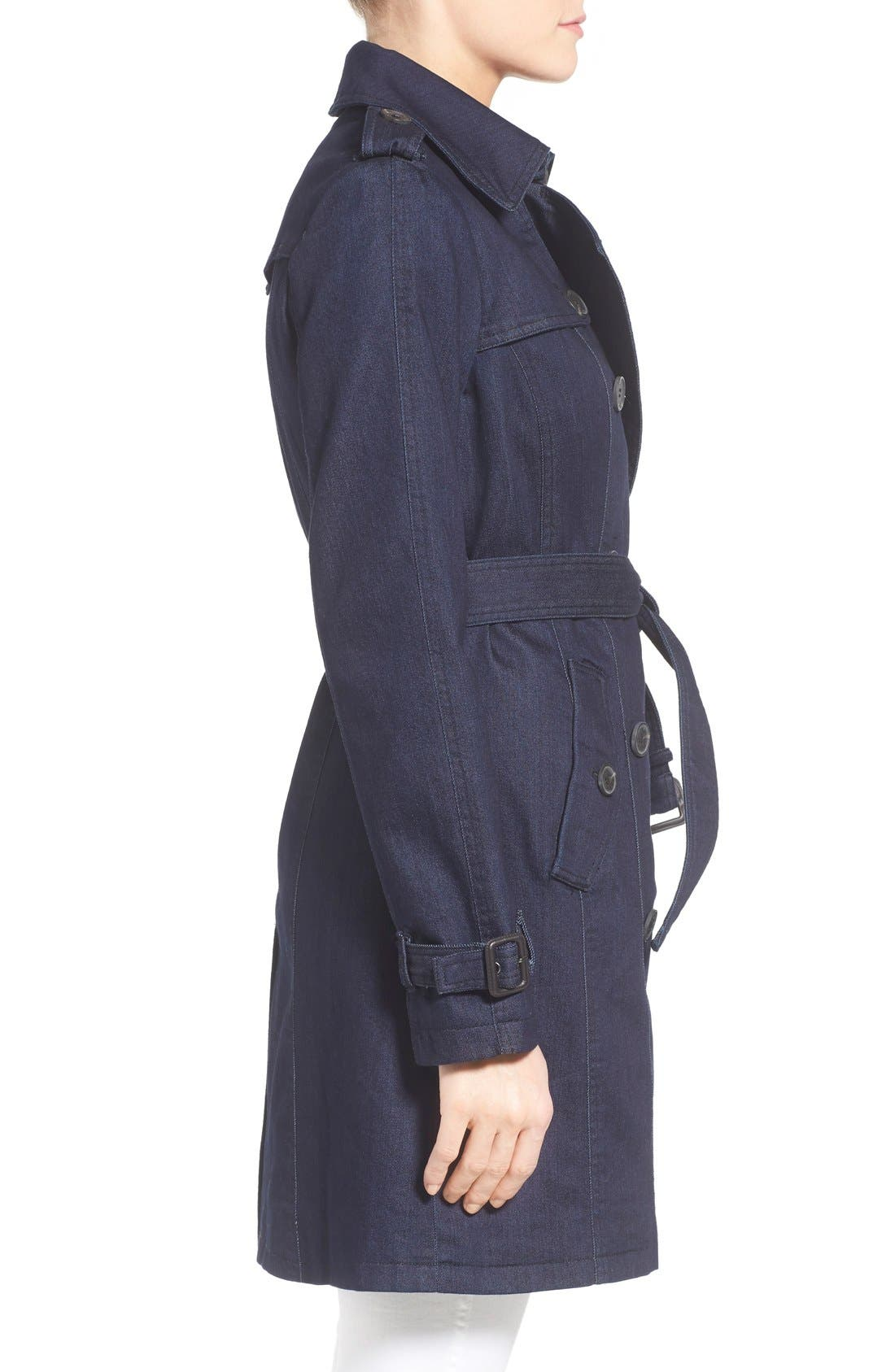Alternate Image 3  - MICHAEL Michael Kors Double Breasted Denim Trench Coat