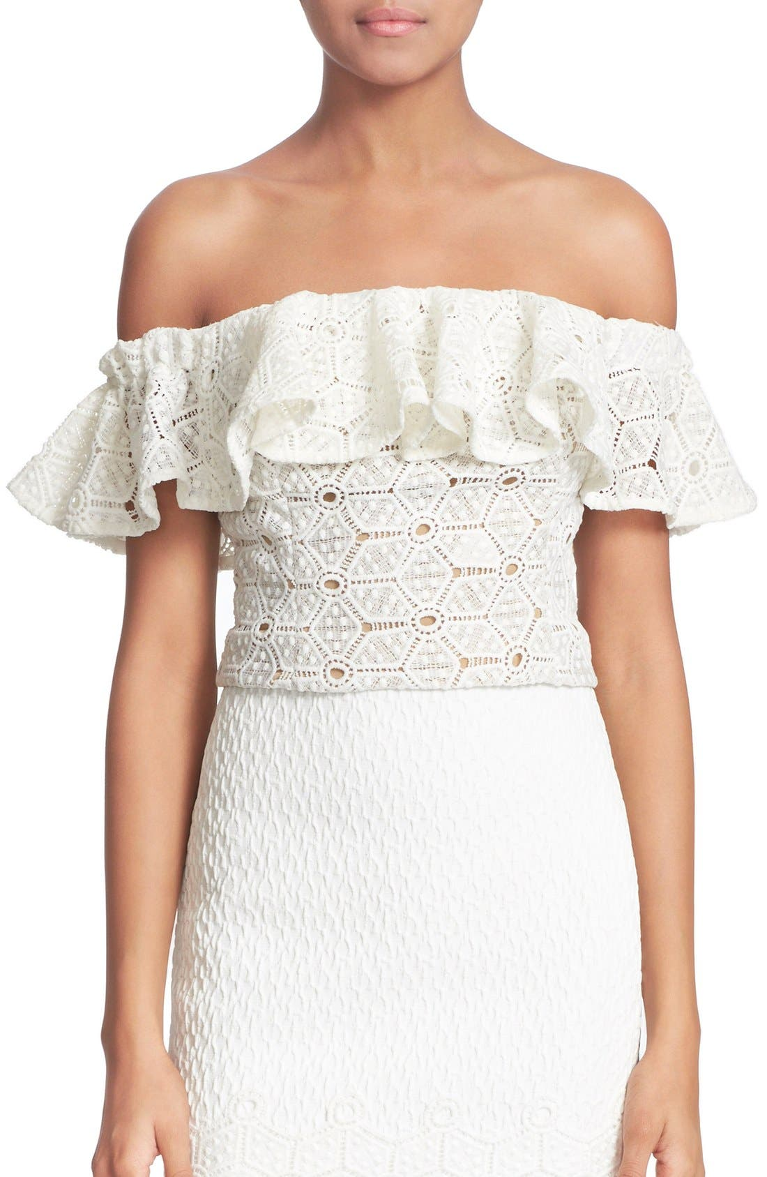 Main Image - Rebecca Taylor Off the Shoulder Lace Top