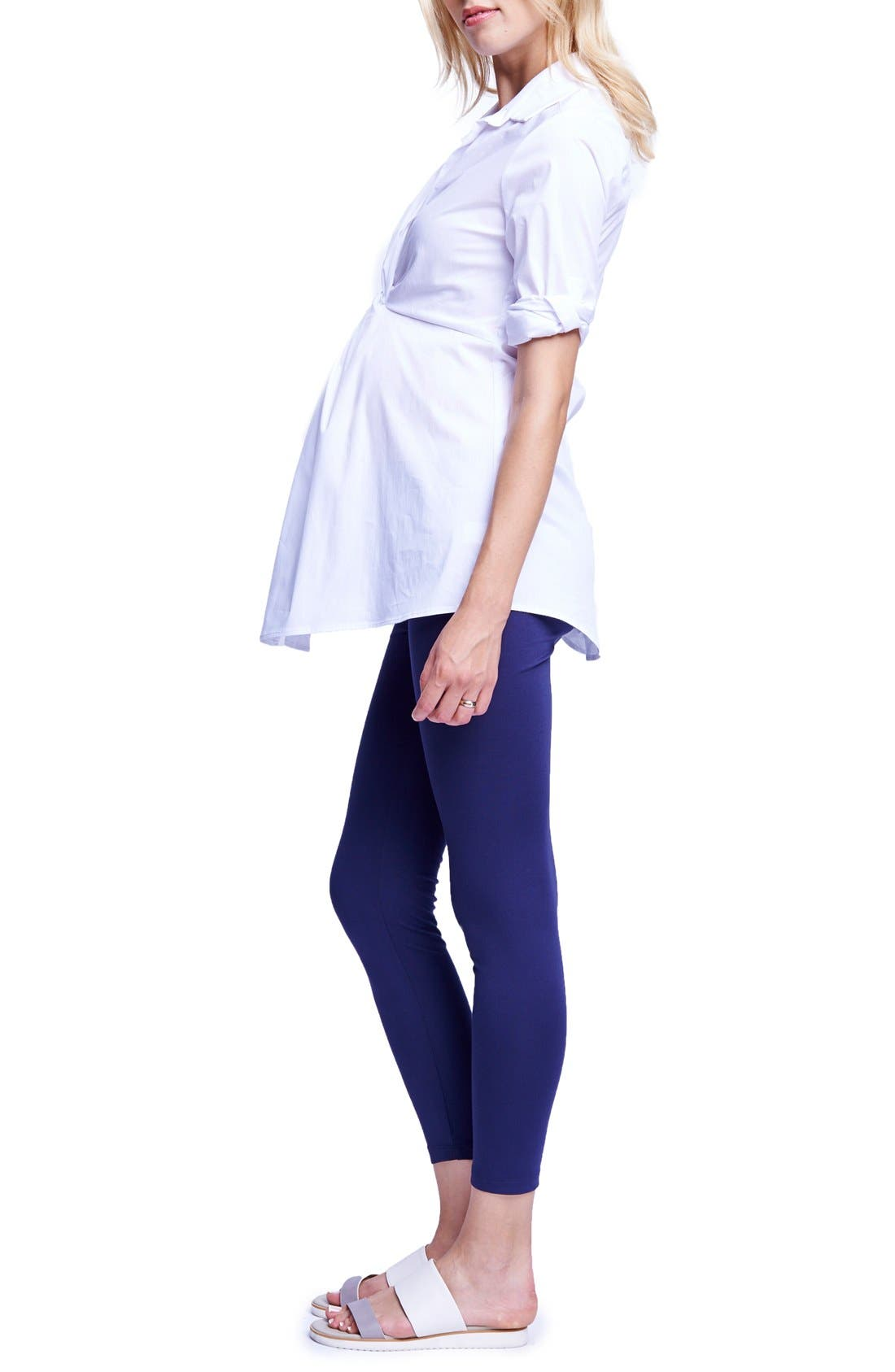 Twist Front Maternity Tunic,                             Alternate thumbnail 2, color,                             White
