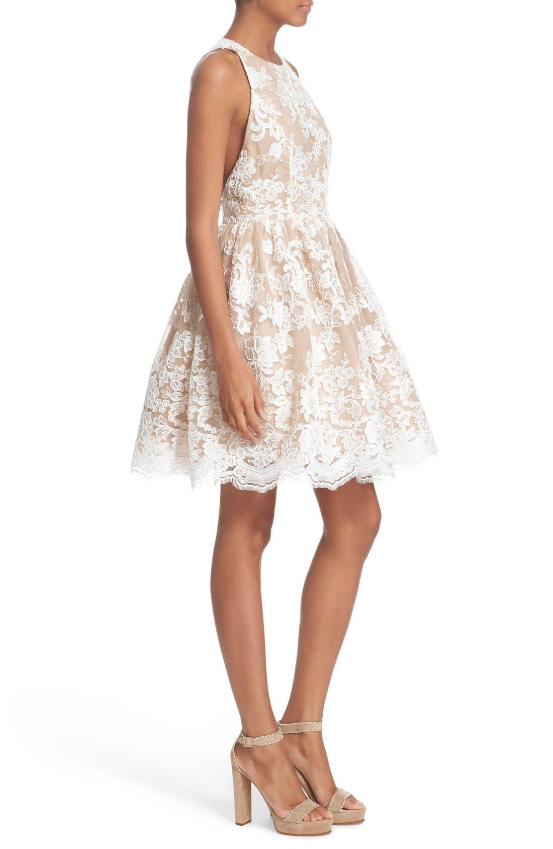 Alternate Image 3  - Alice + Olivia 'Ladonna' Lace Fit & Flare Dress