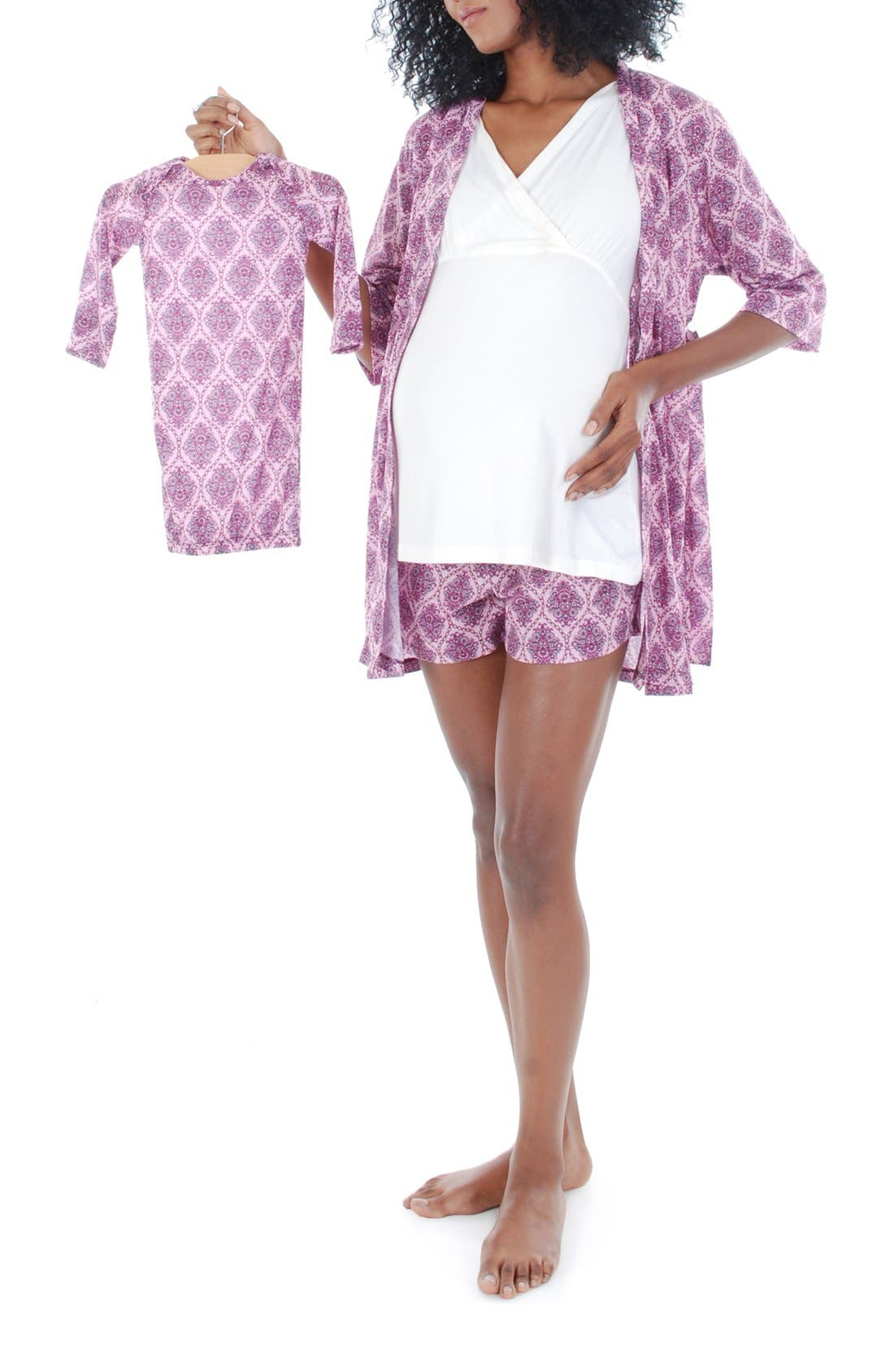 Main Image - Everly Grey 'Daphne - During & After' 5-Piece Maternity Sleepwear Set