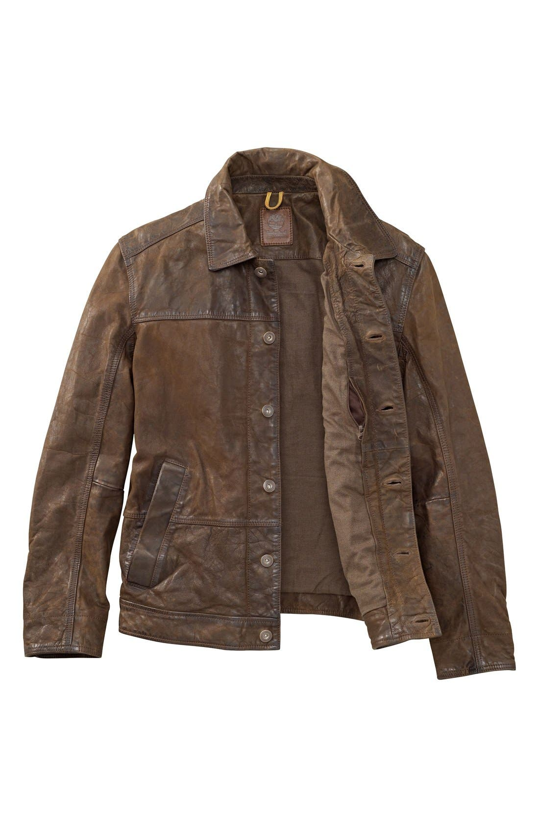 'Tenon' Leather Jacket,                             Alternate thumbnail 6, color,                             Cocoa