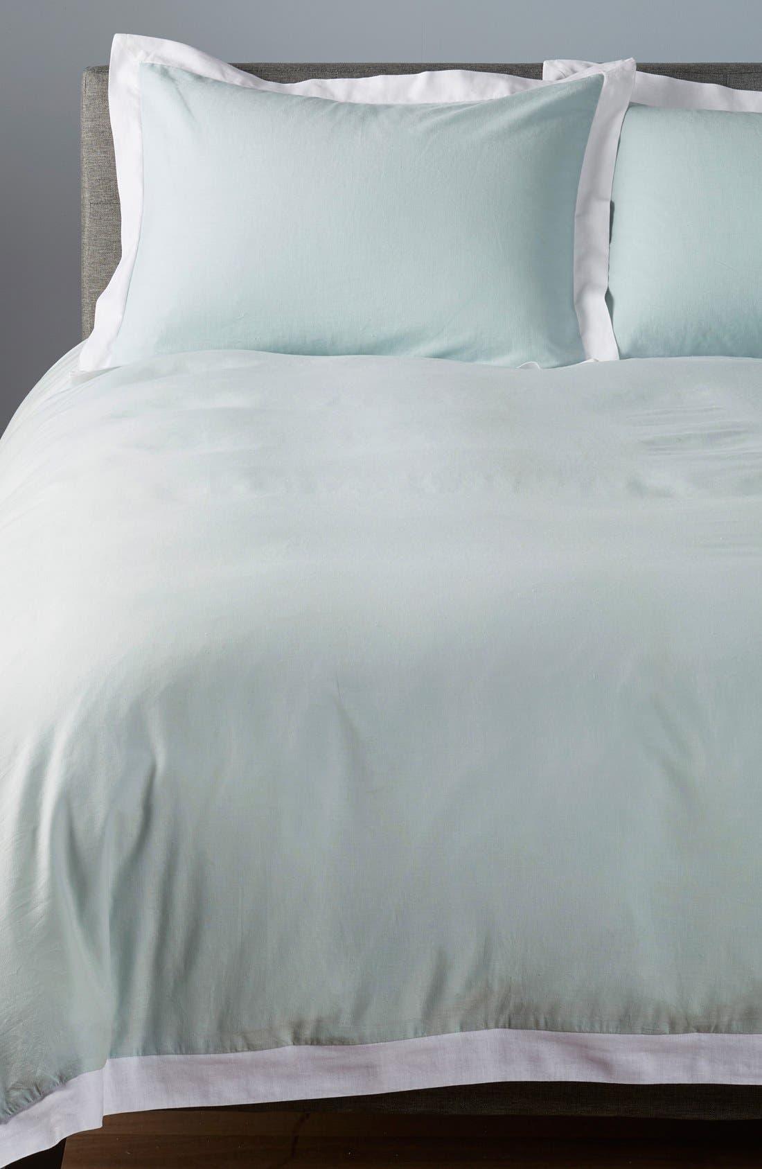 'Spa' Washed Linen Duvet Cover,                         Main,                         color, Blue