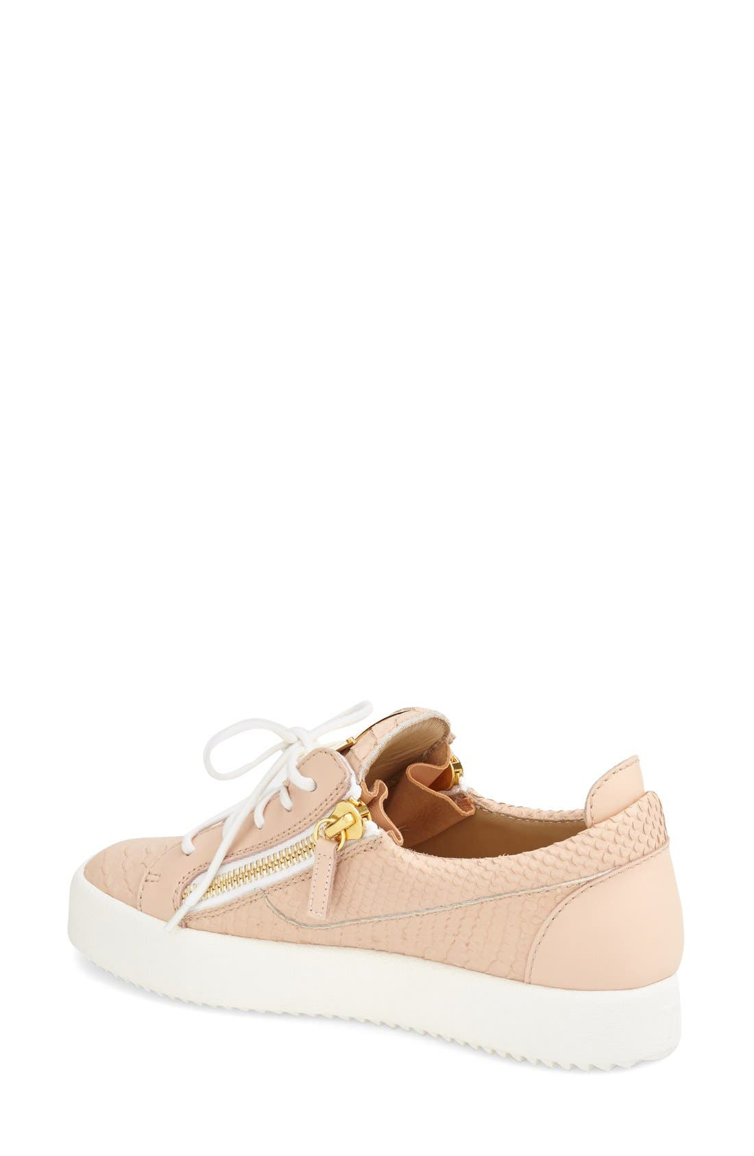 'May London' Snake Embossed Low Top Sneaker,                             Alternate thumbnail 2, color,                             Nude Leather